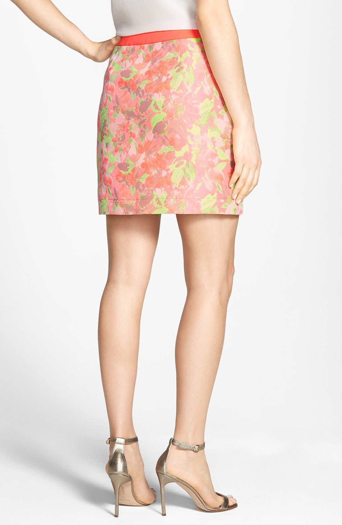'Keleche' Jacquard Faux Wrap Skirt,                             Alternate thumbnail 3, color,                             683
