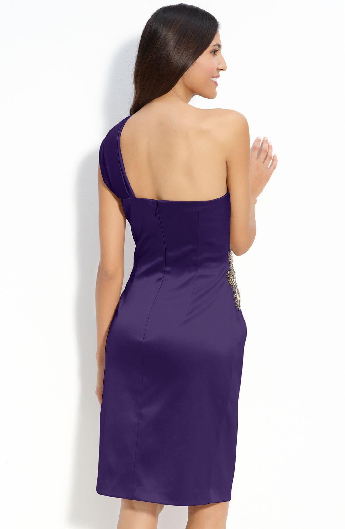 Beaded One-Shoulder Satin Dress,                             Alternate thumbnail 23, color,