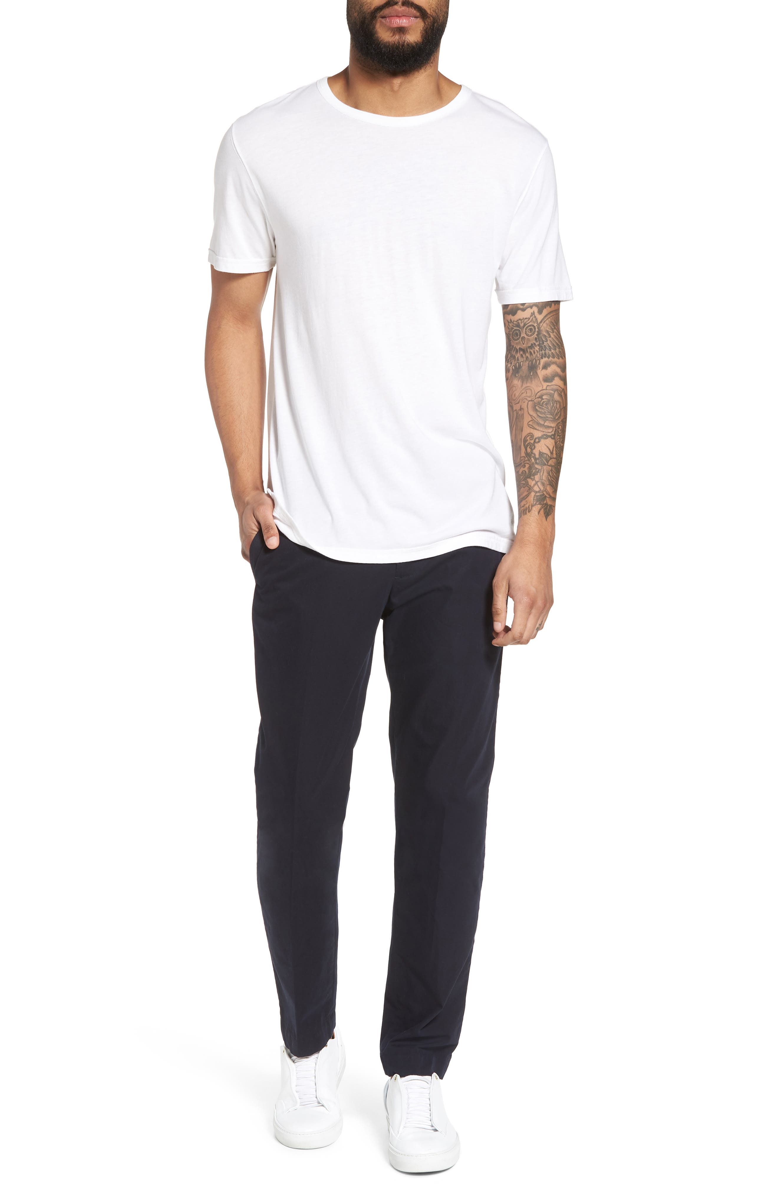 VINCE,                             Reverse Hem Slim Fit T-Shirt,                             Alternate thumbnail 7, color,                             100