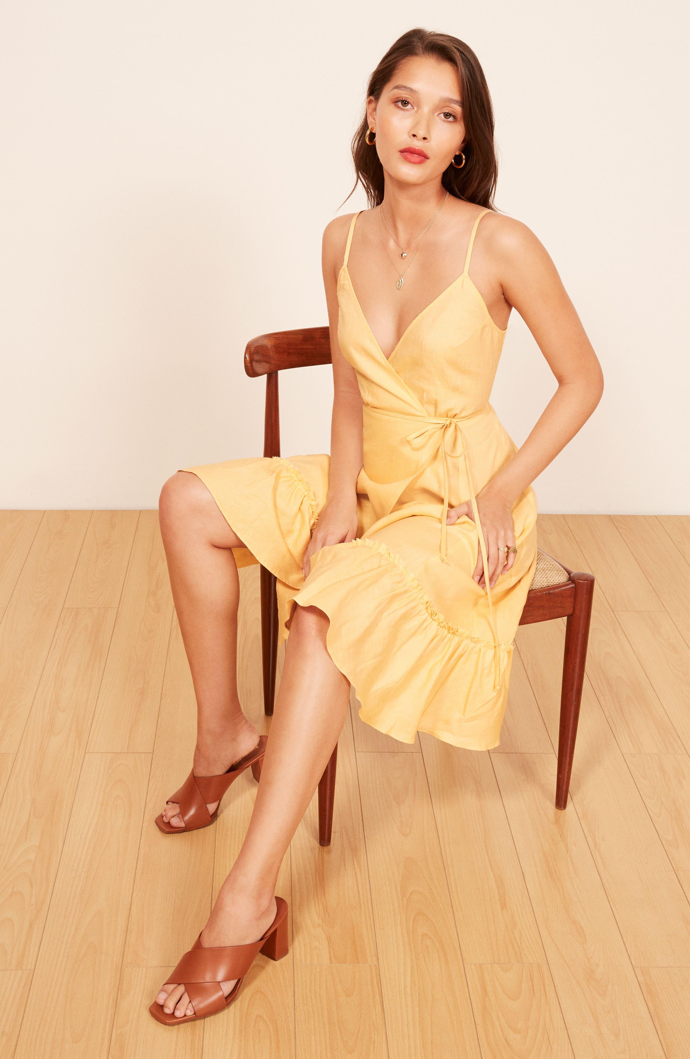 Fig Linen Wrap Dress,                             Alternate thumbnail 4, color,                             700