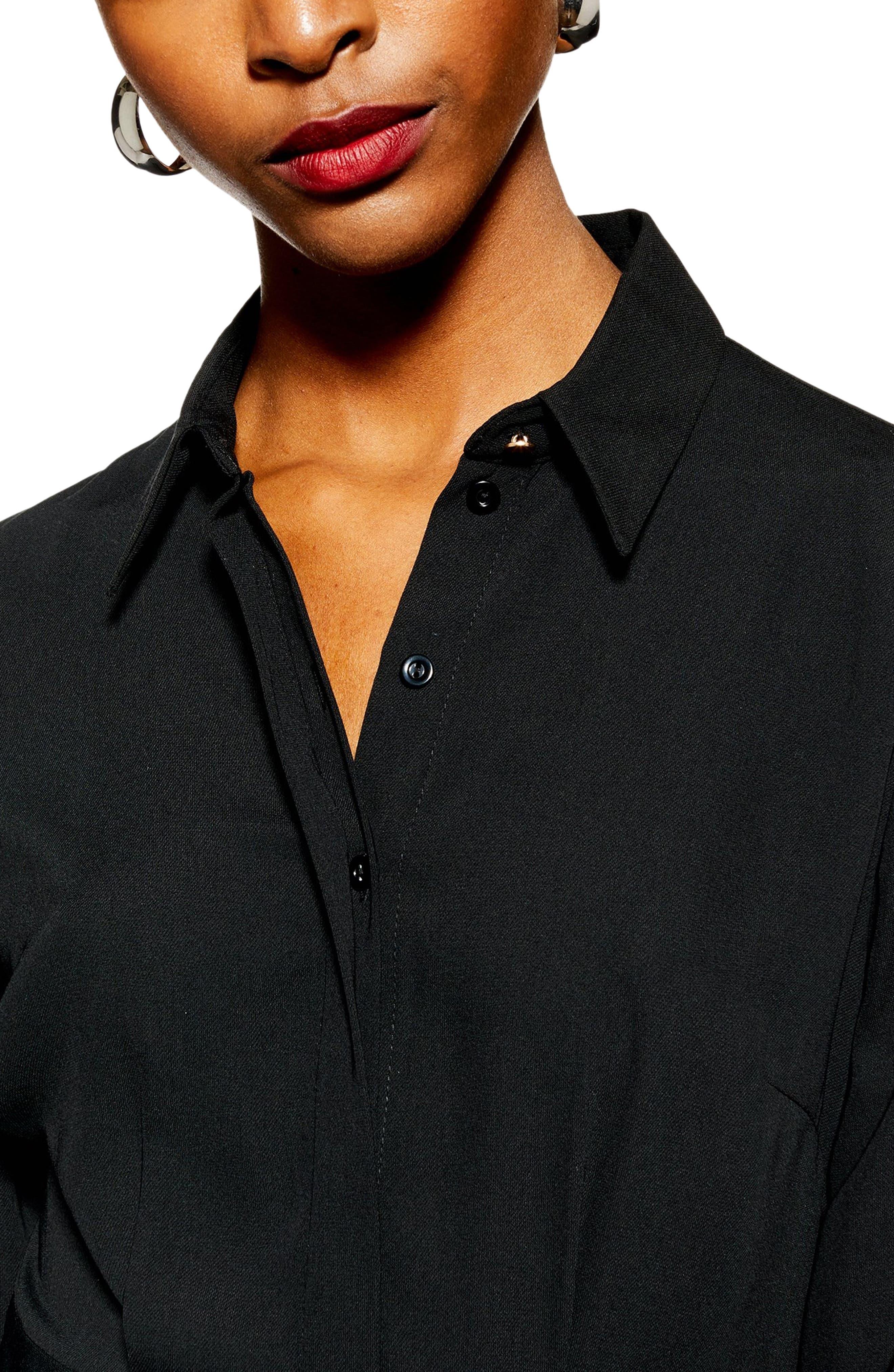 TOPSHOP,                             Pleated Mini Shirtdress,                             Alternate thumbnail 3, color,                             BLACK