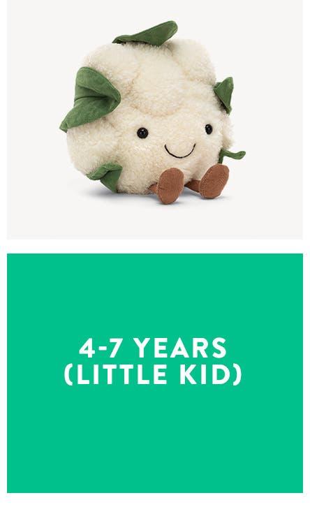 4-7 years (little kid). A stuffed cauliflower plush toy.