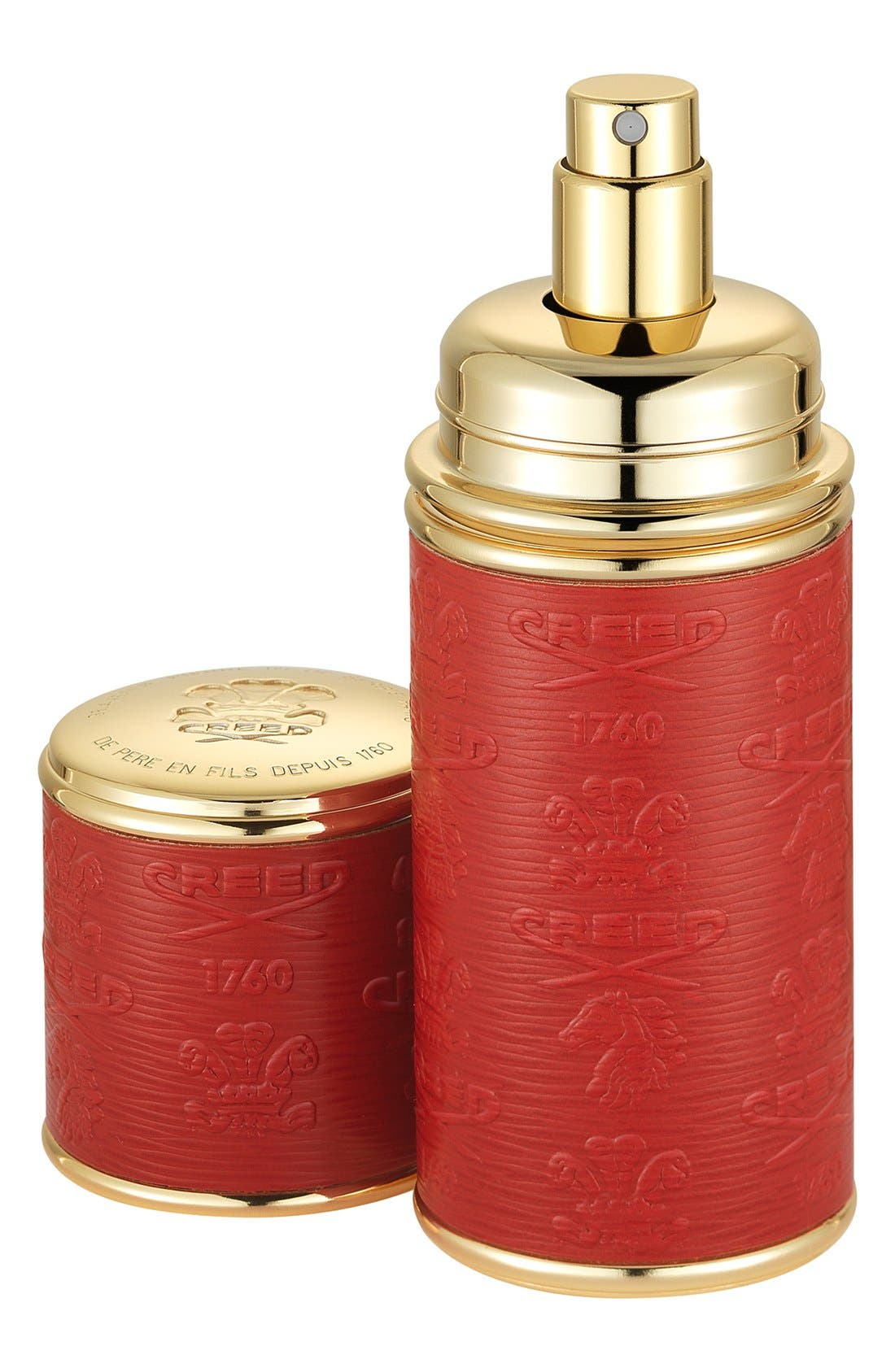 Red with Gold Trim Leather Atomizer,                         Main,                         color, NO COLOR