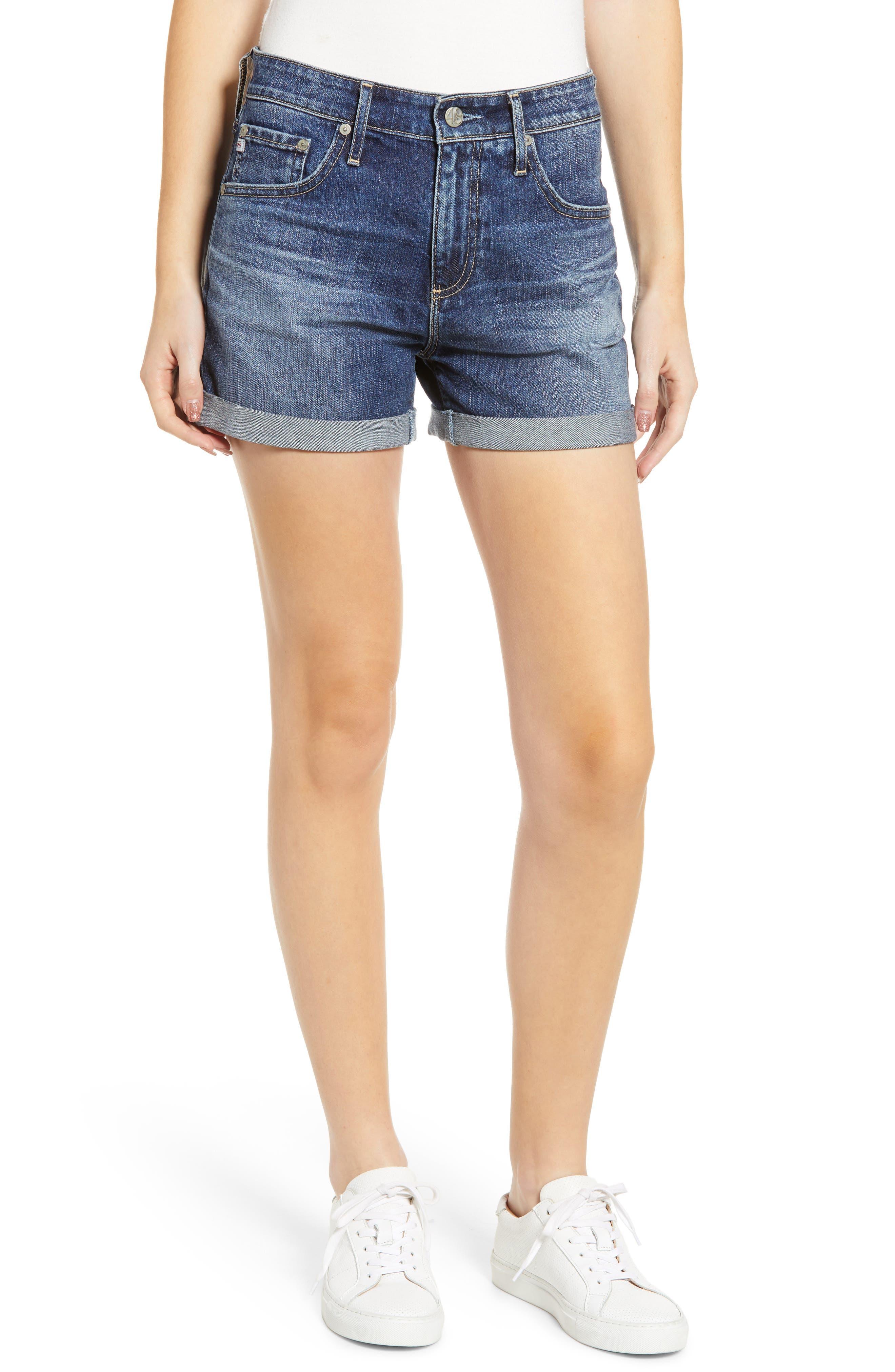 Hailey High Waist Cuff Denim Shorts,                             Main thumbnail 1, color,                             18 YEAR INDIGO CITY