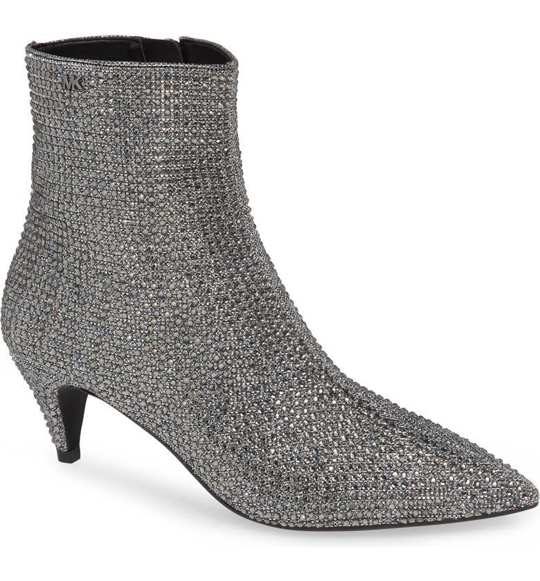 0adda46d10b3 Michael Michael Kors Women S Blaine Embellished Flex Kitten Heel Booties In  Metallic