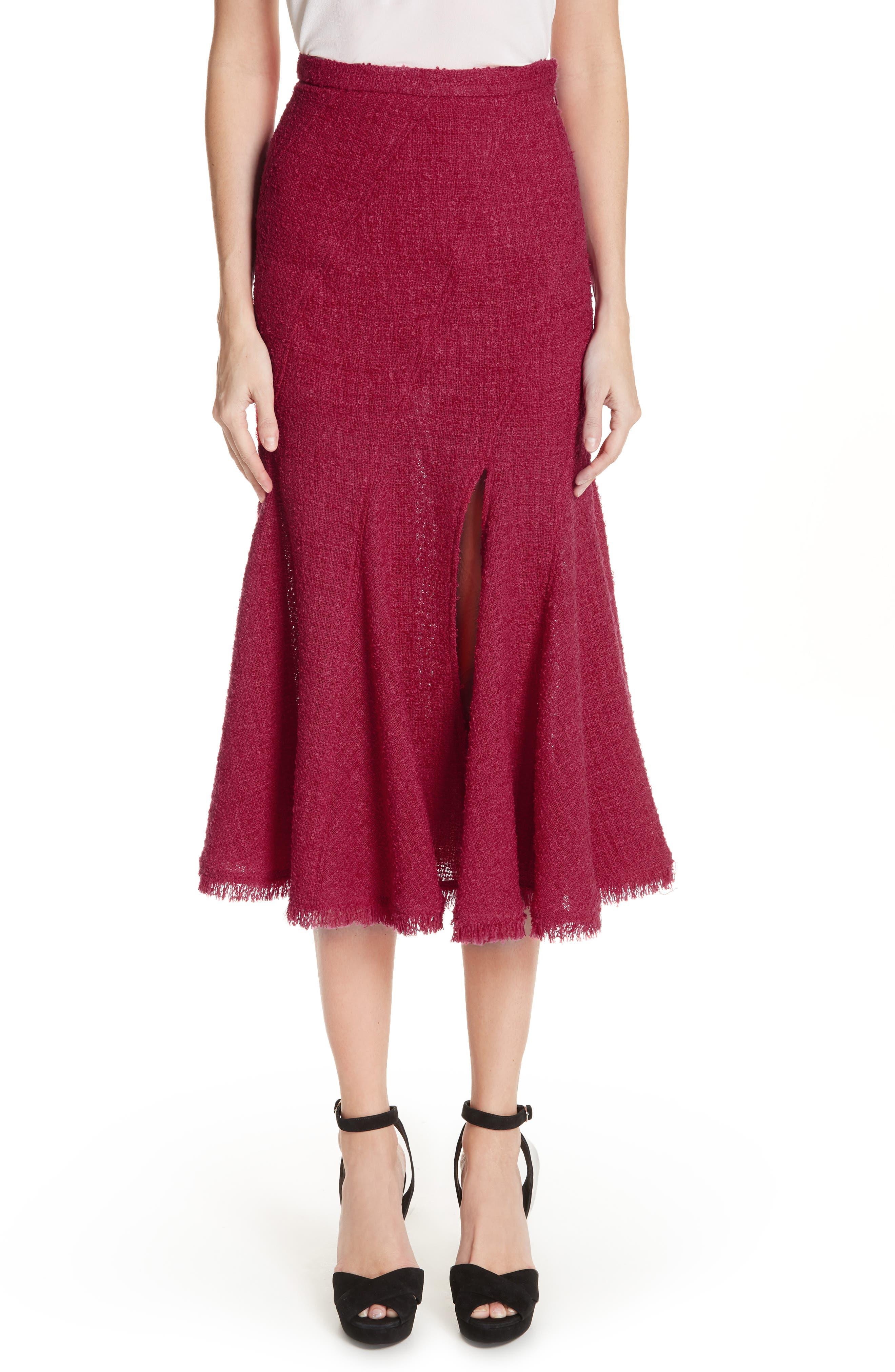 Flare Hem Tweed Skirt, Main, color, 607