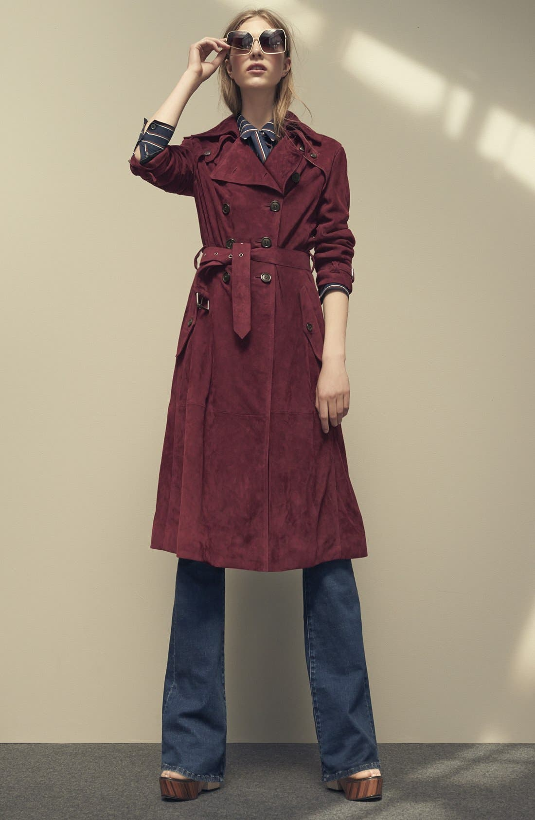RebeccaMinkoff'Amis' SuedeTrench Coat,                             Alternate thumbnail 4, color,                             930