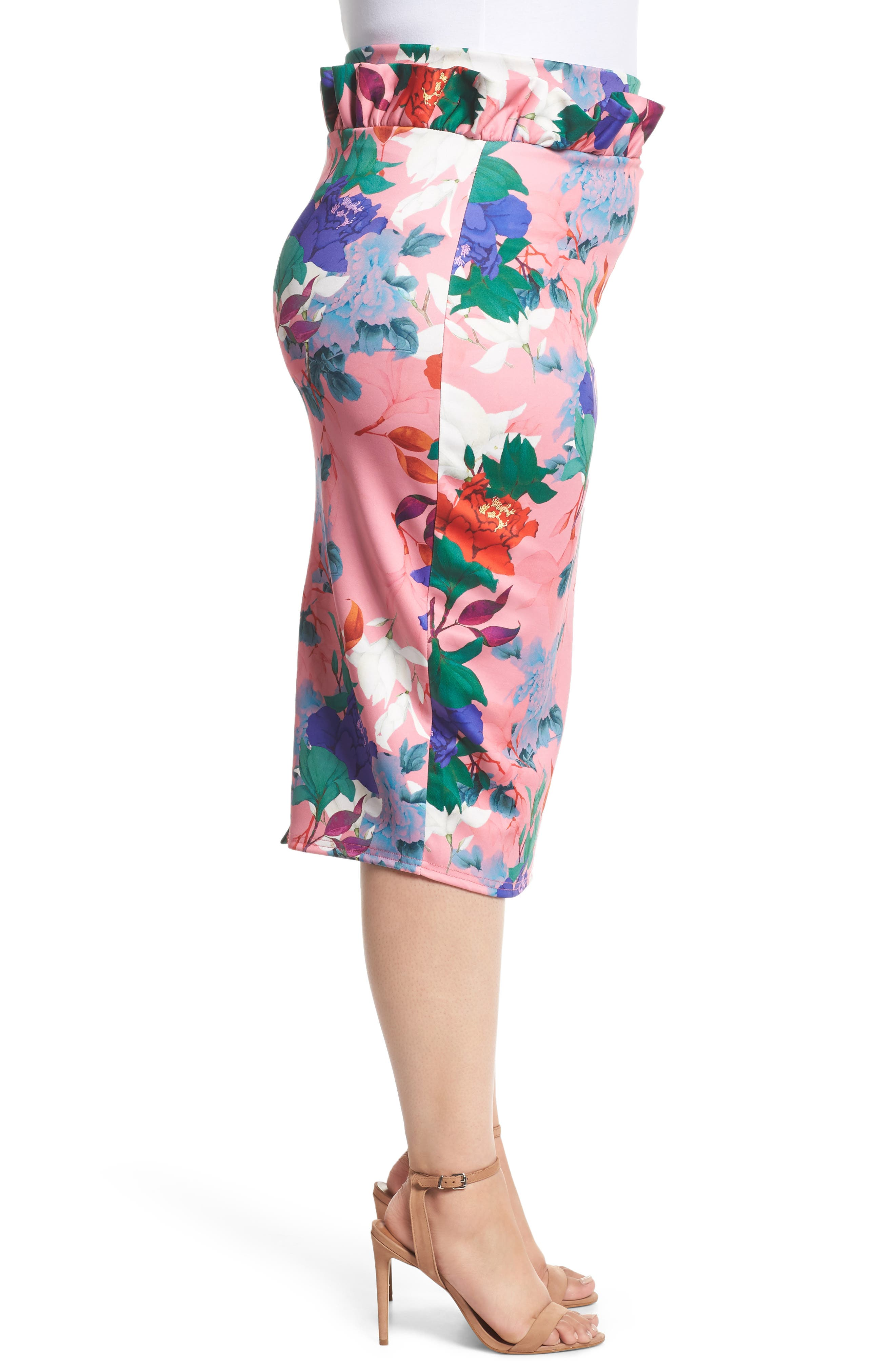 LOST INK,                             Floral Ruffle Pencil Skirt,                             Alternate thumbnail 3, color,                             658