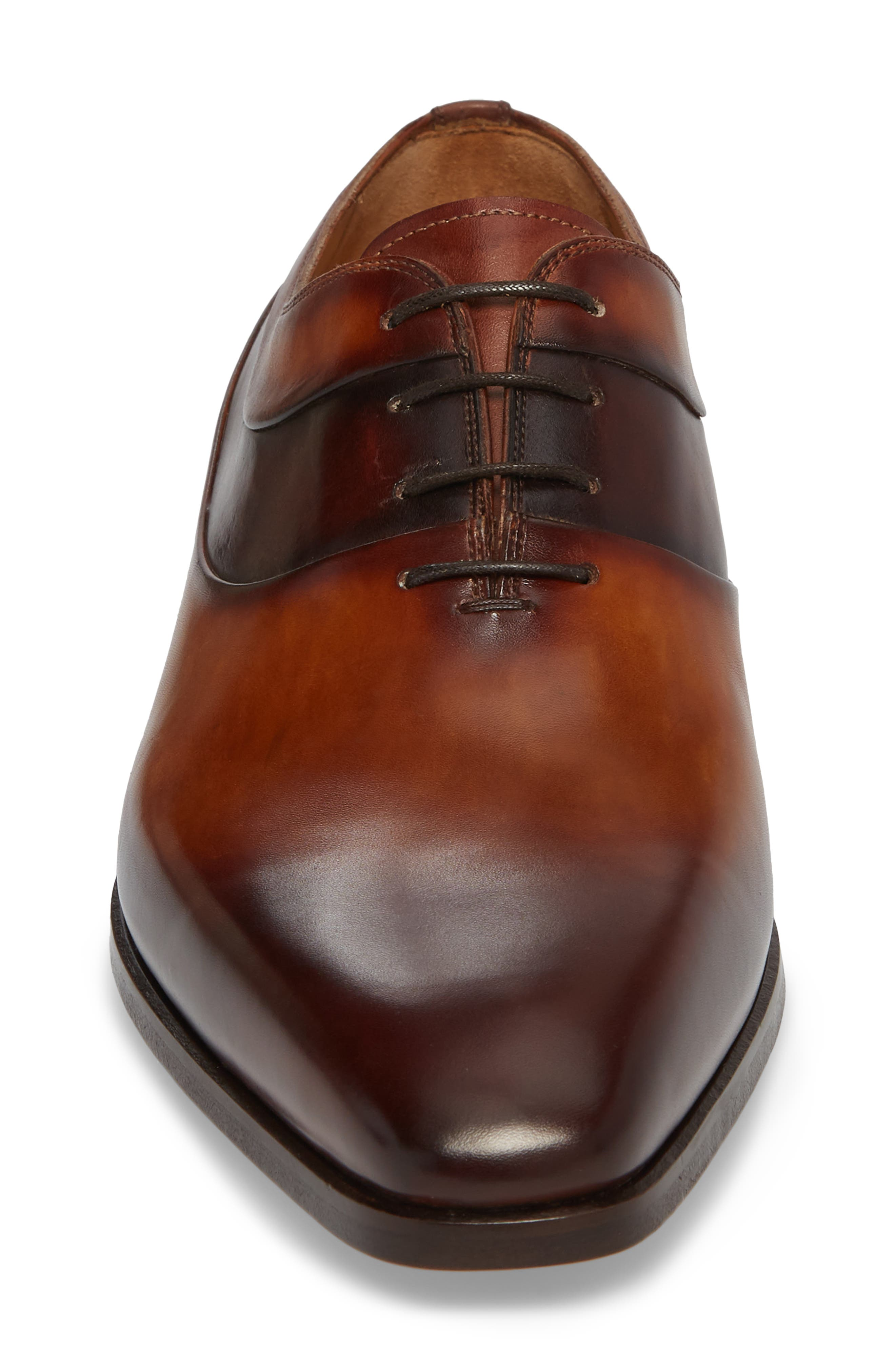 Miles Plain Toe Oxford,                             Alternate thumbnail 4, color,                             BROWN LEATHER