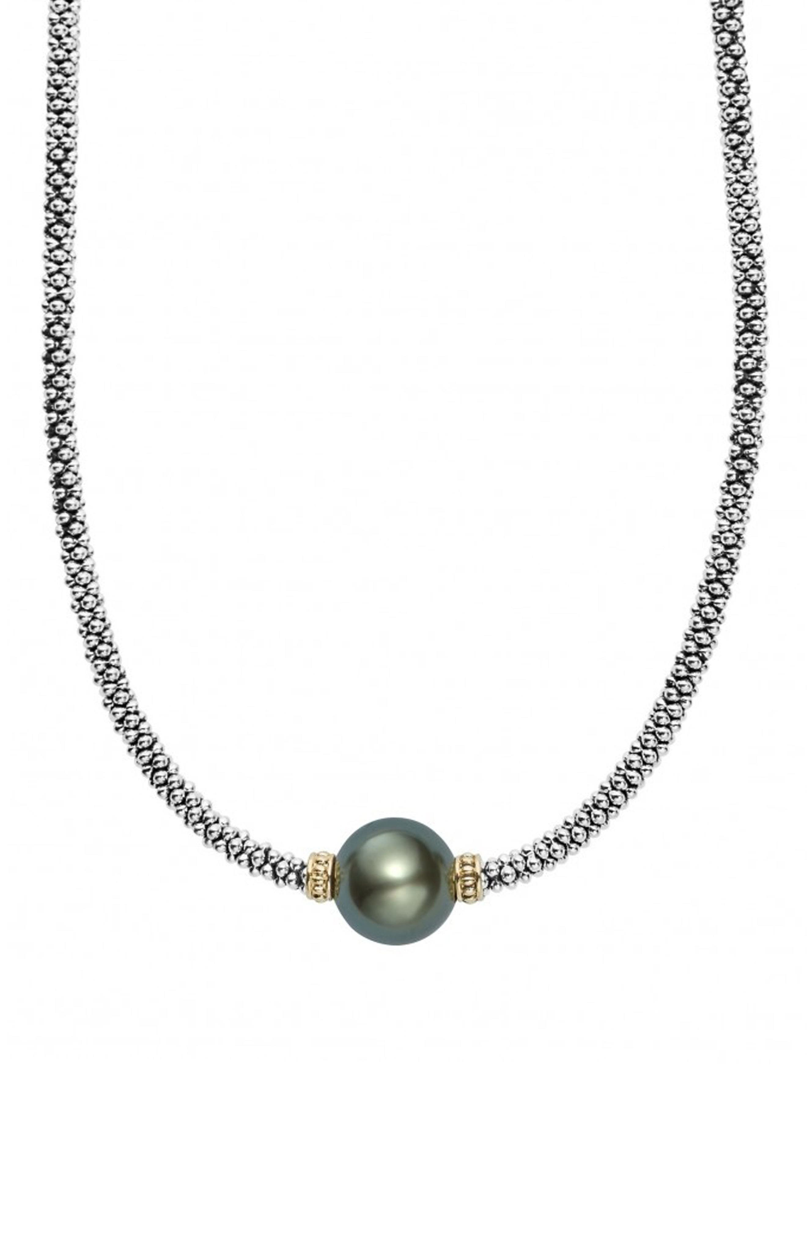 Luna Pearl Collar Necklace,                         Main,                         color, BLACK PEARL