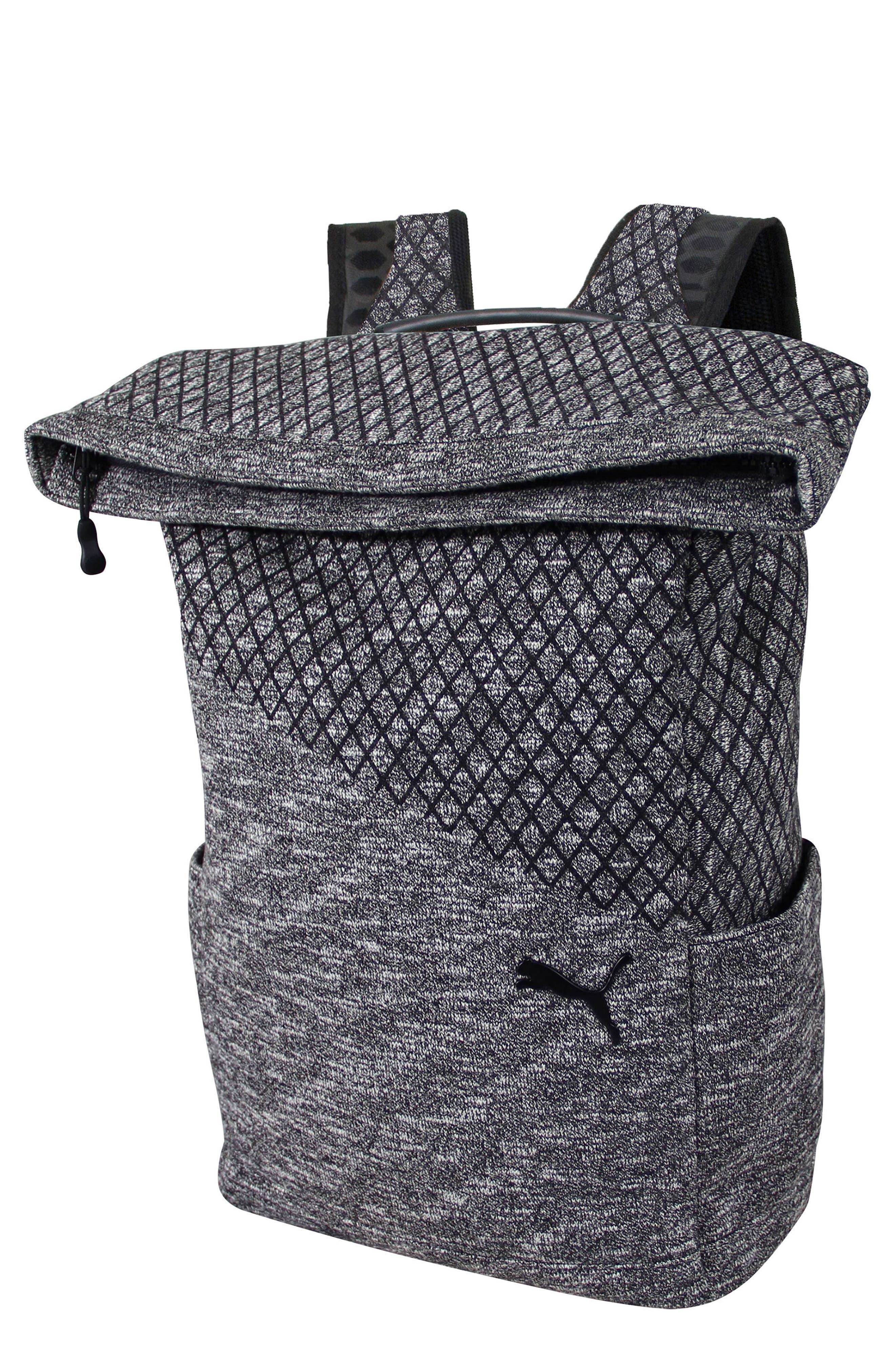 Evo 2.0 Foldover Top Knit Backpack,                         Main,                         color, BLACK/ GREY