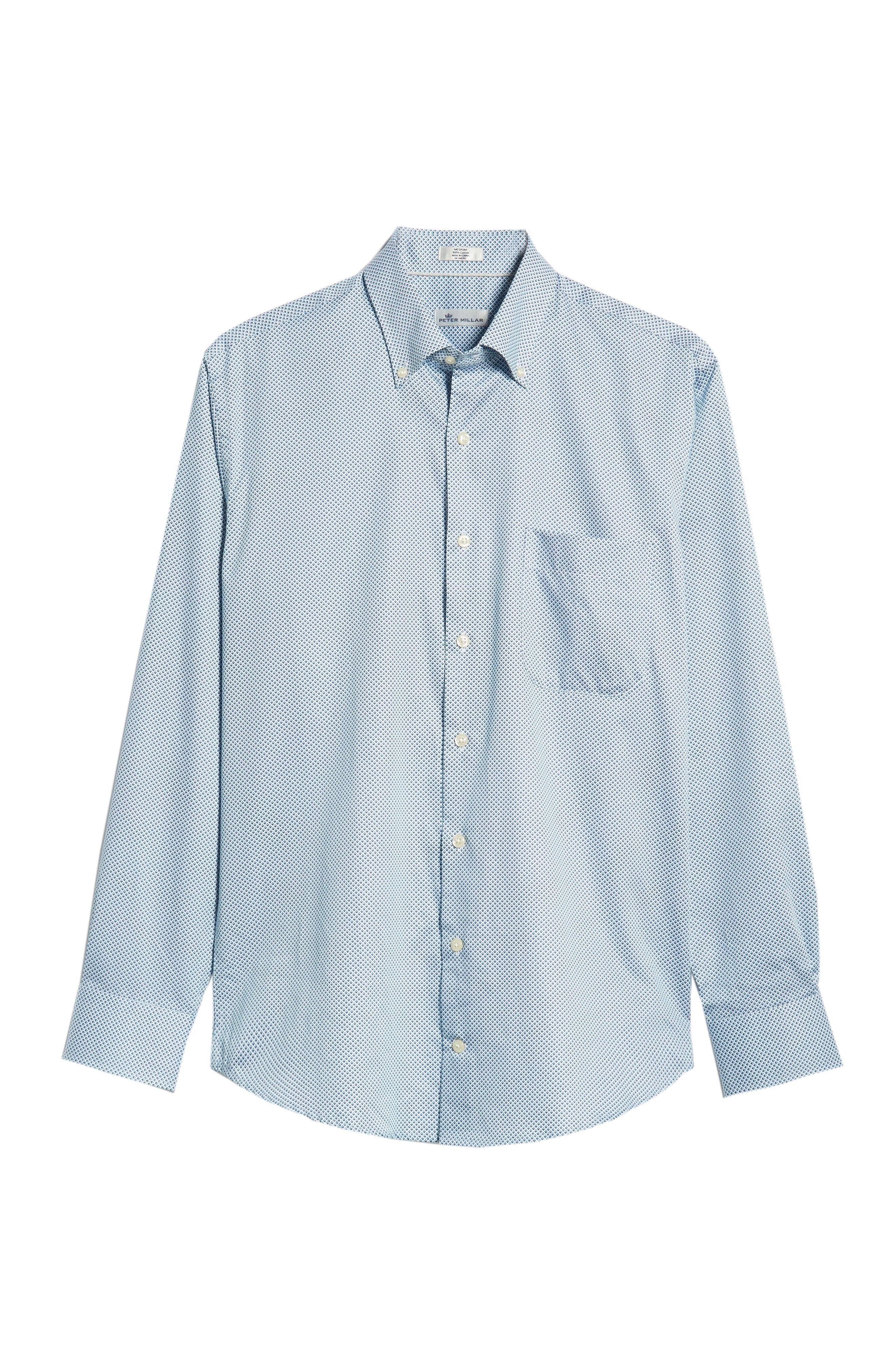 Diamond in the Rough Regular Fit Sport Shirt,                             Alternate thumbnail 5, color,                             NAVY