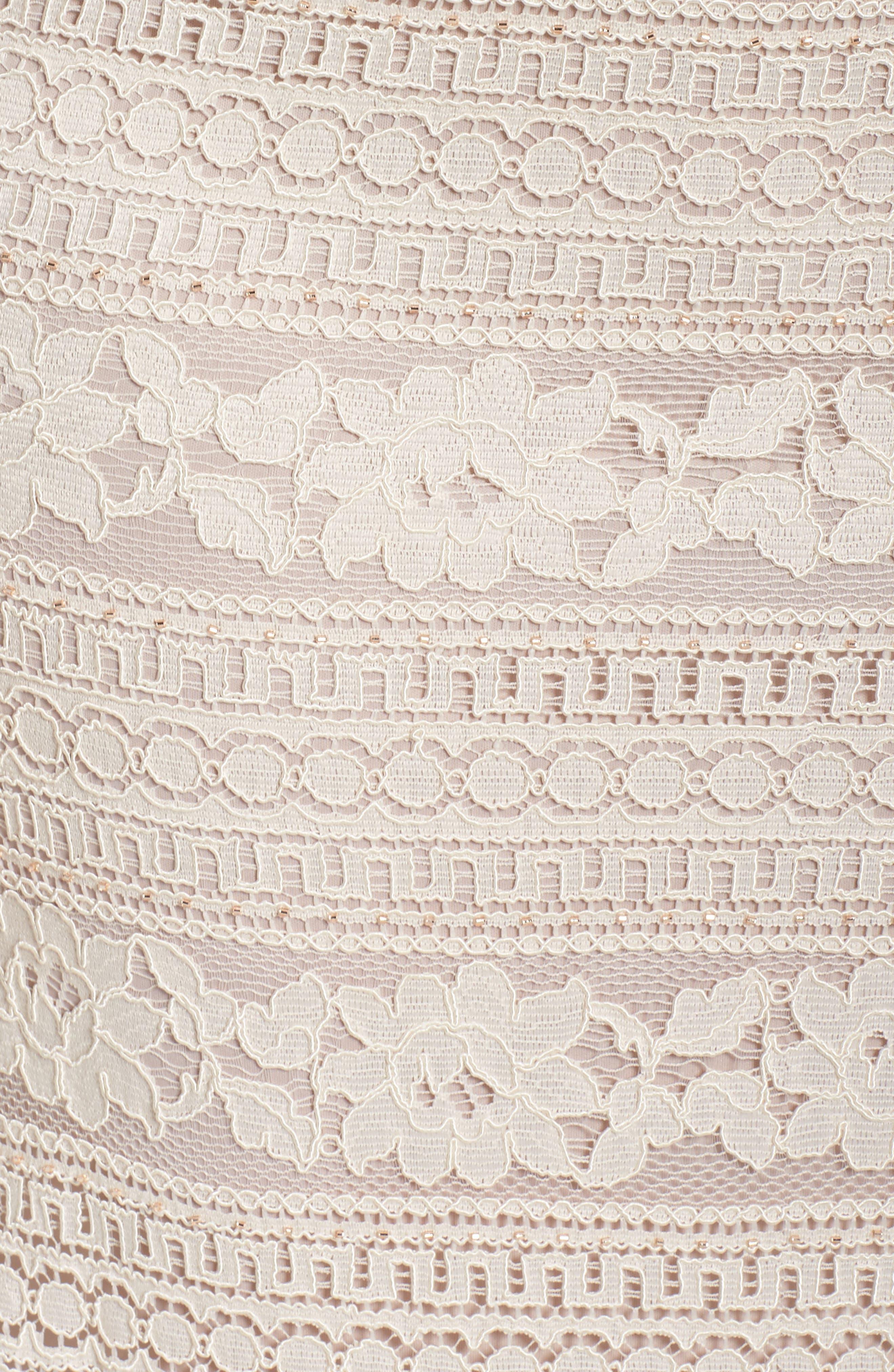 Illusion Lace Column Gown,                             Alternate thumbnail 5, color,                             650