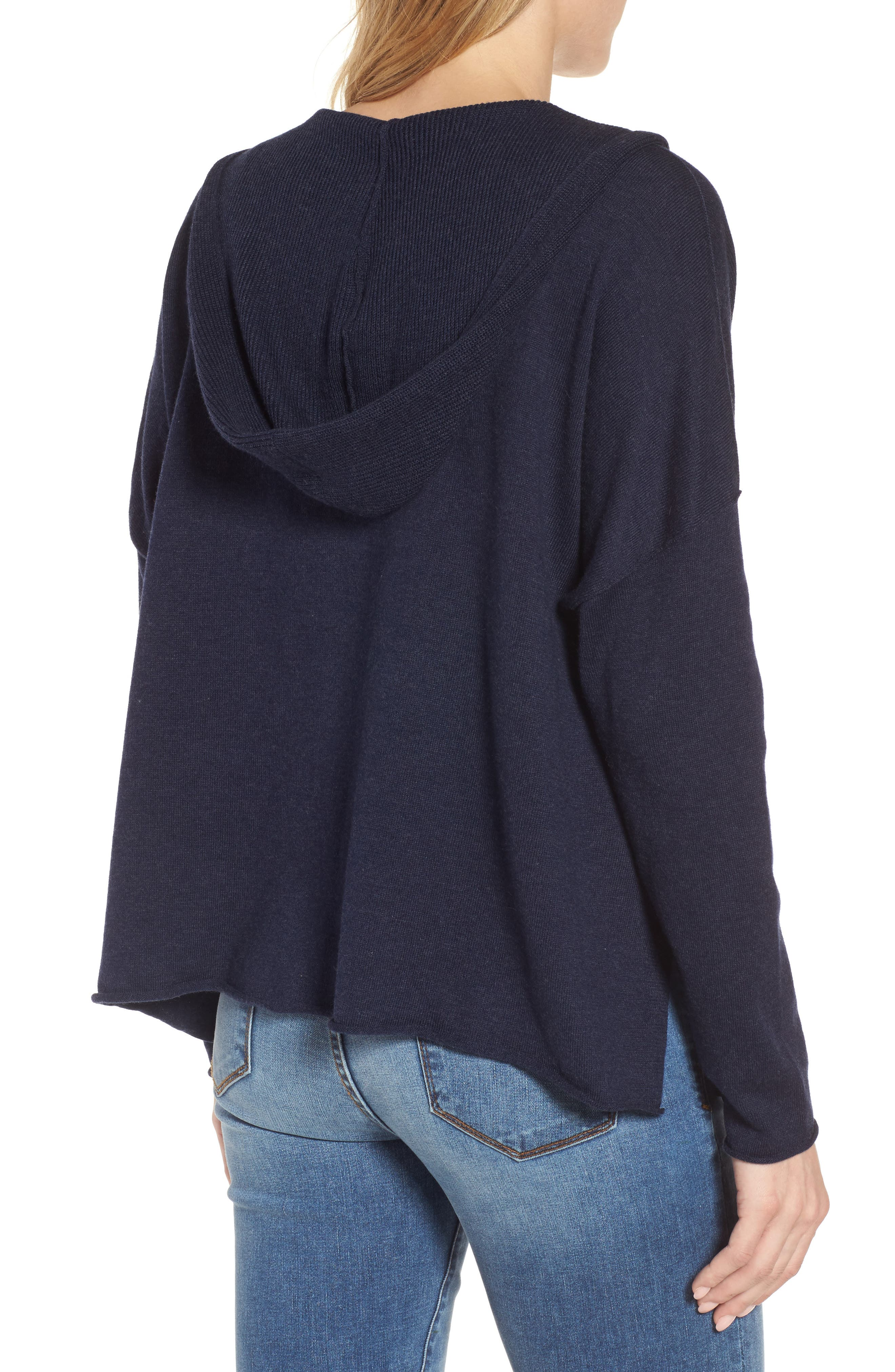 Hooded Organic Cotton Box Sweater,                             Alternate thumbnail 4, color,