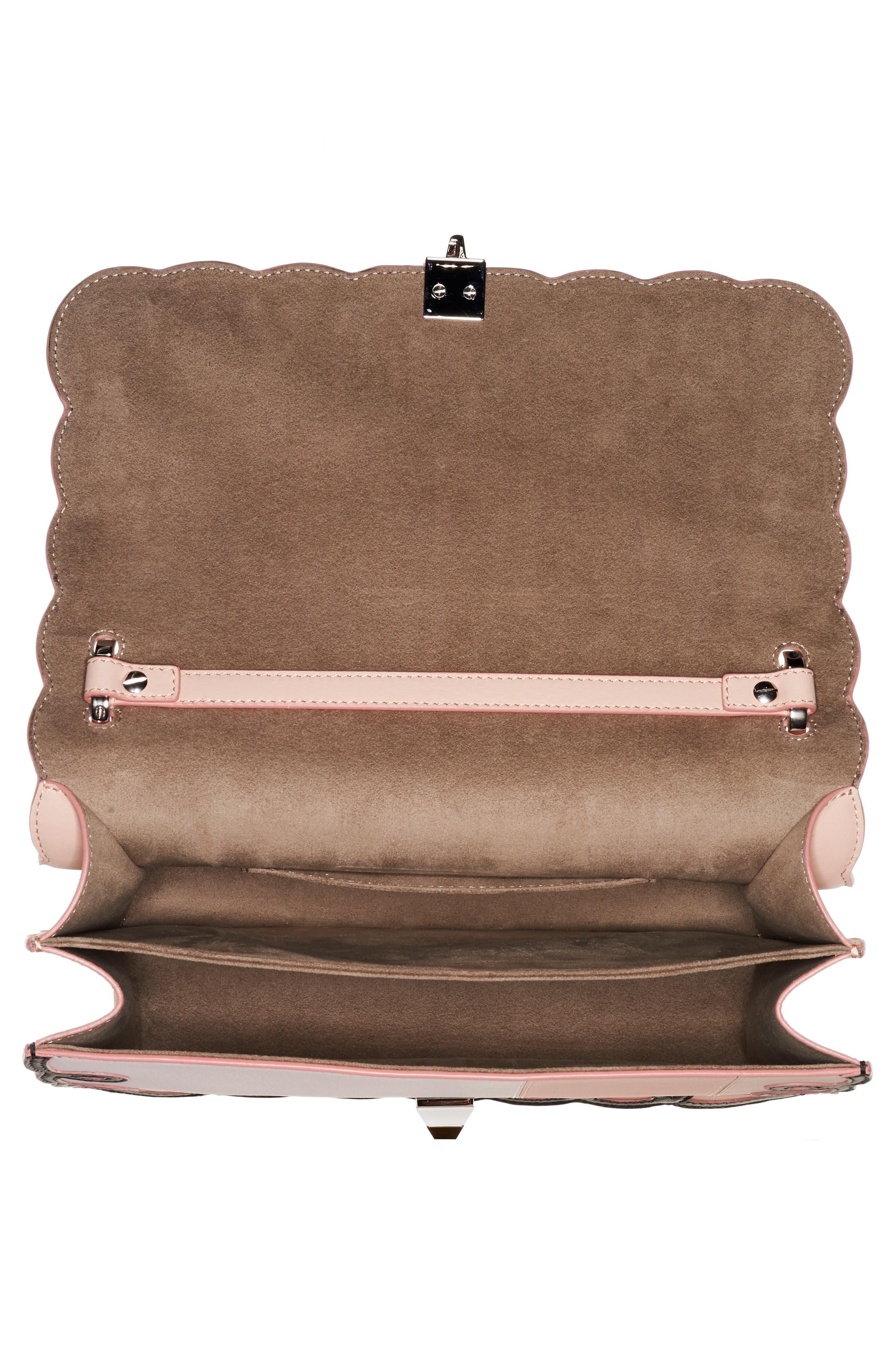 Kan I Scalloped Stripe Leather Shoulder Bag,                             Alternate thumbnail 3, color,                             PLASTER PINK