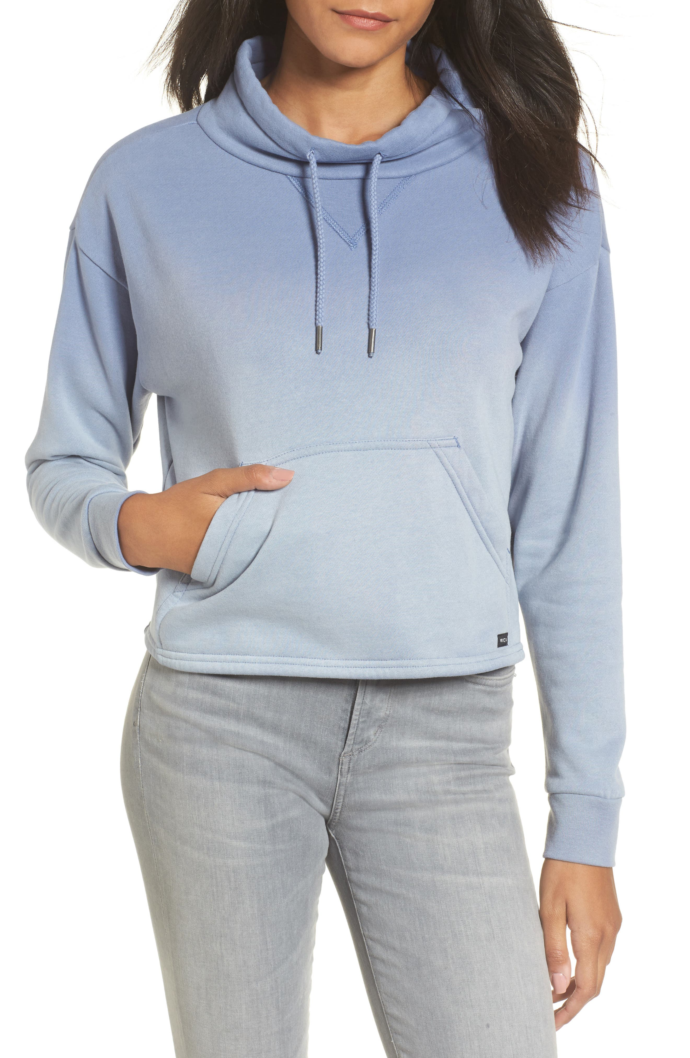 Smudged Crop Funnel Neck Sweatshirt,                             Main thumbnail 1, color,                             403