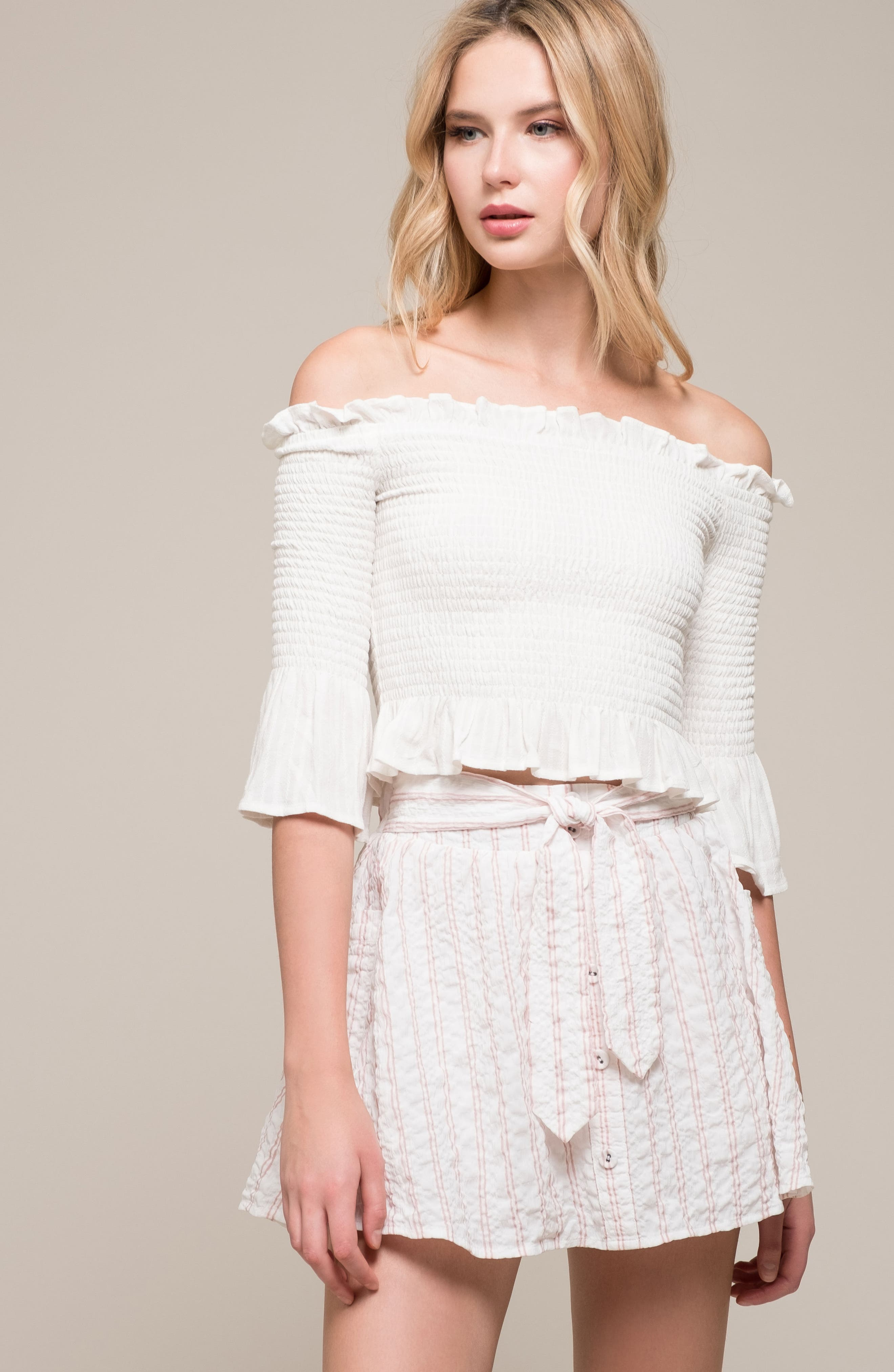 Smocked Off the Shoulder Top,                             Alternate thumbnail 8, color,                             100