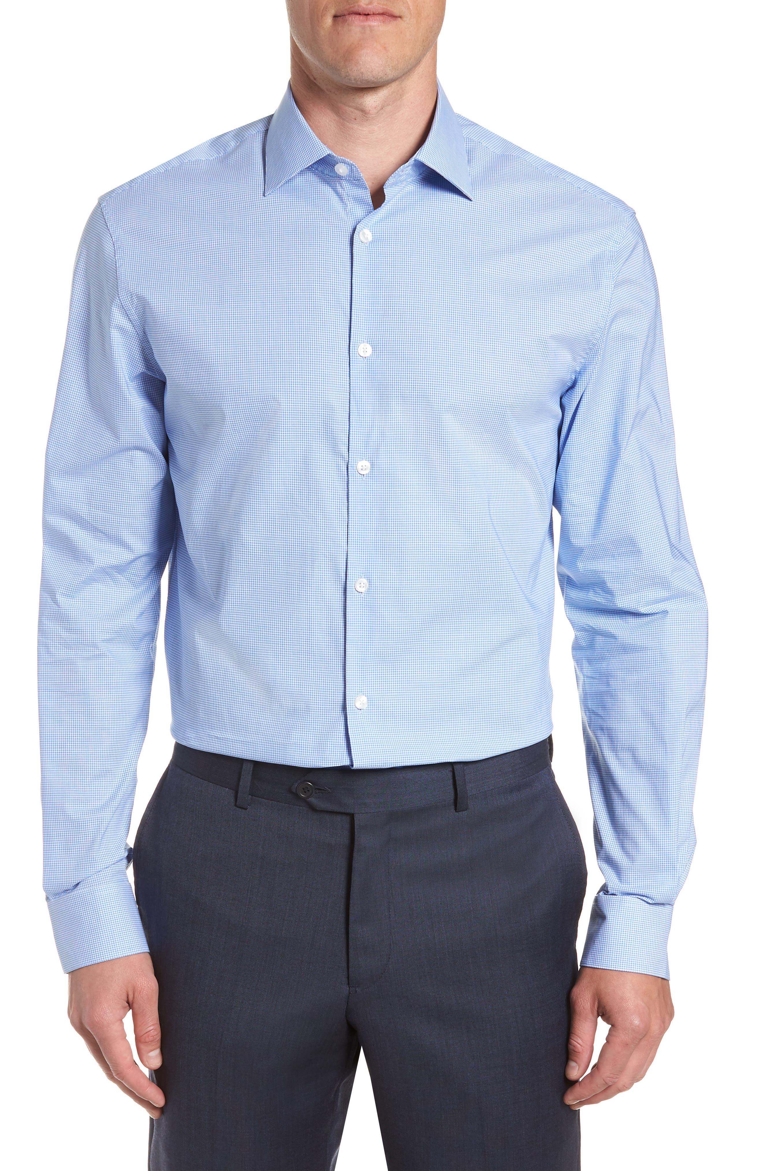 Microcheck Regular Fit Dress Shirt,                         Main,                         color, OCEAN BLUE