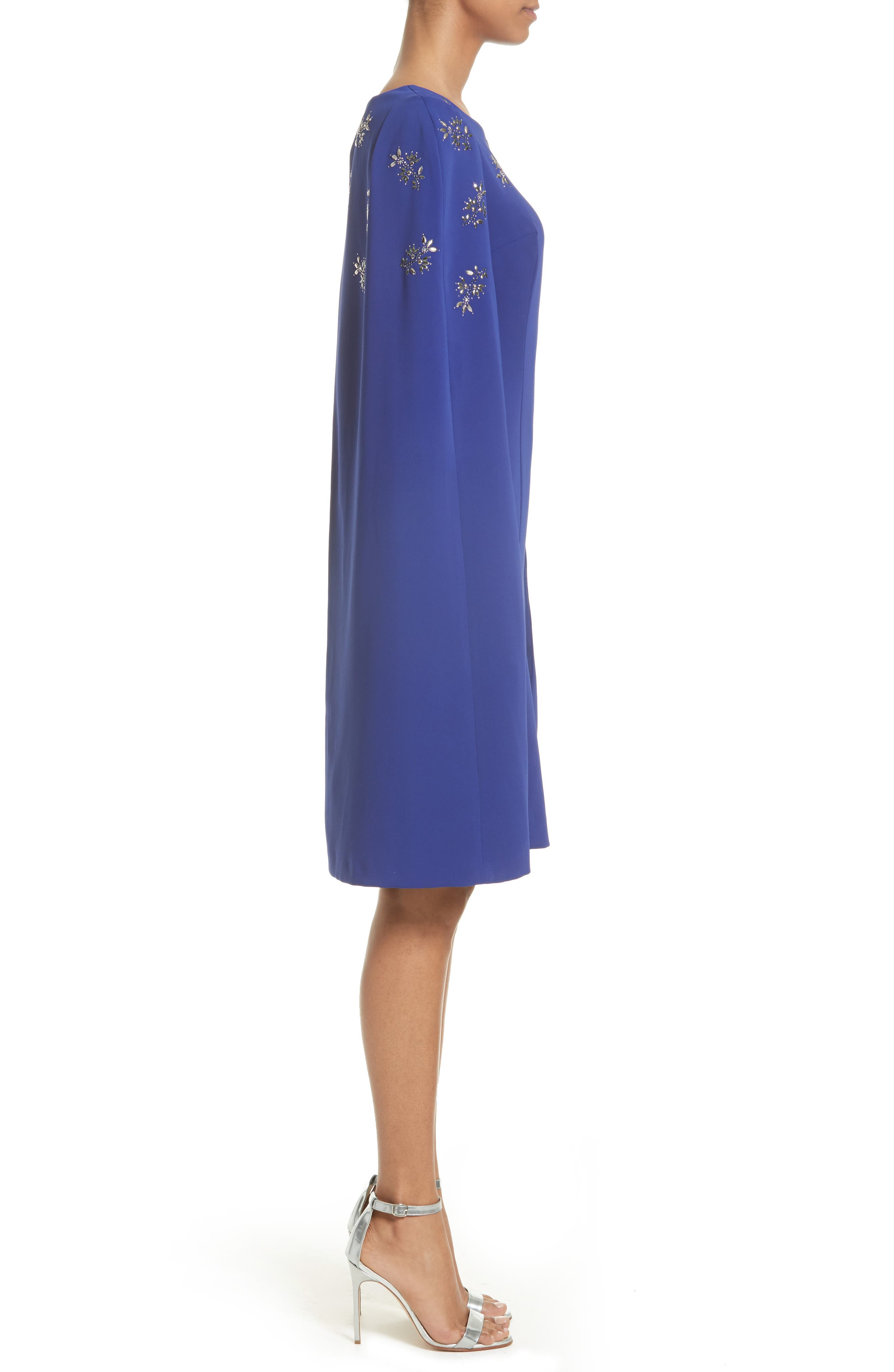 Embellished Classic Stretch Cady Cape Dress,                             Alternate thumbnail 3, color,                             430