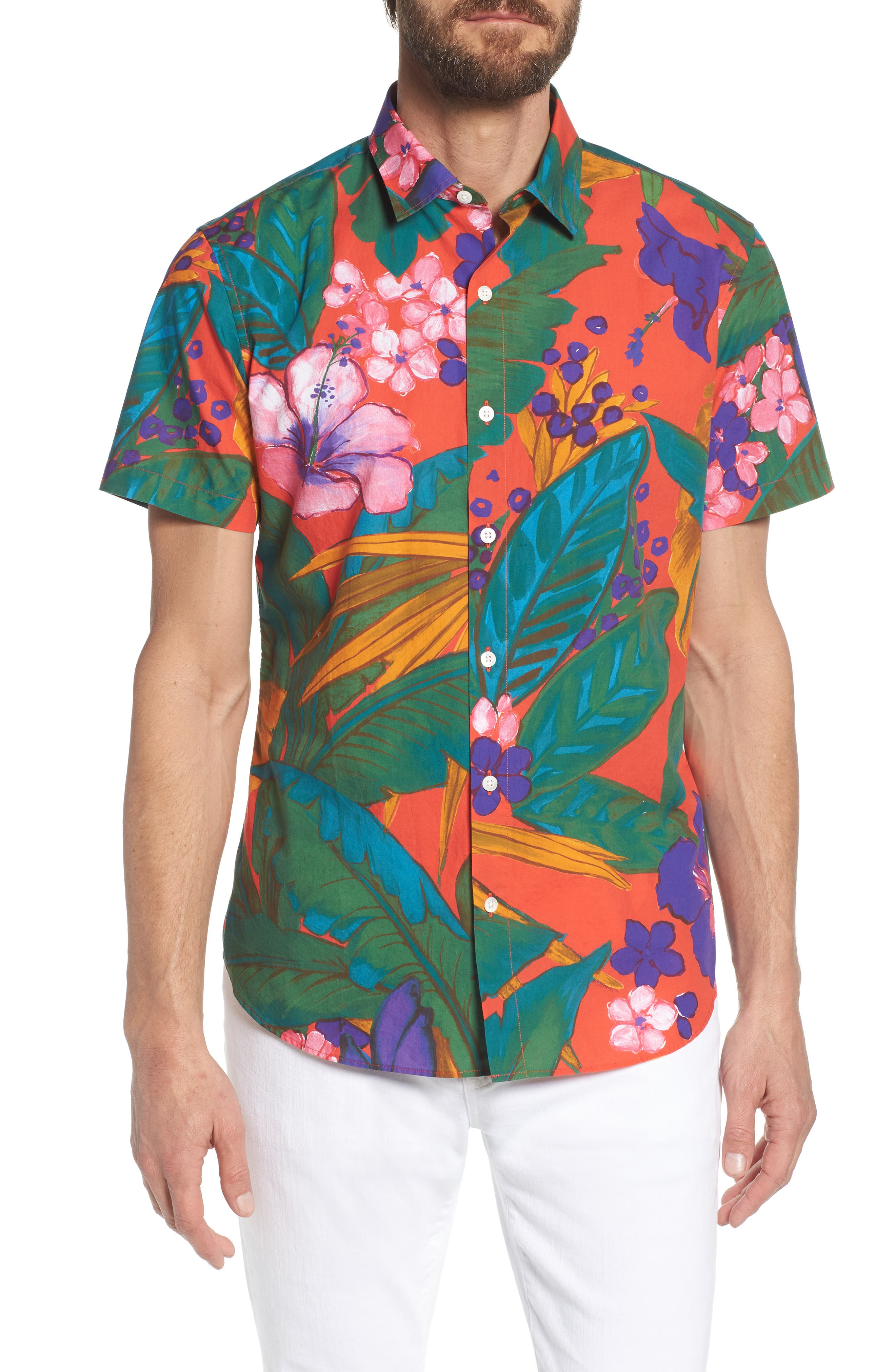 Premium Slim Fit Print Sport Shirt,                             Main thumbnail 1, color,                             650
