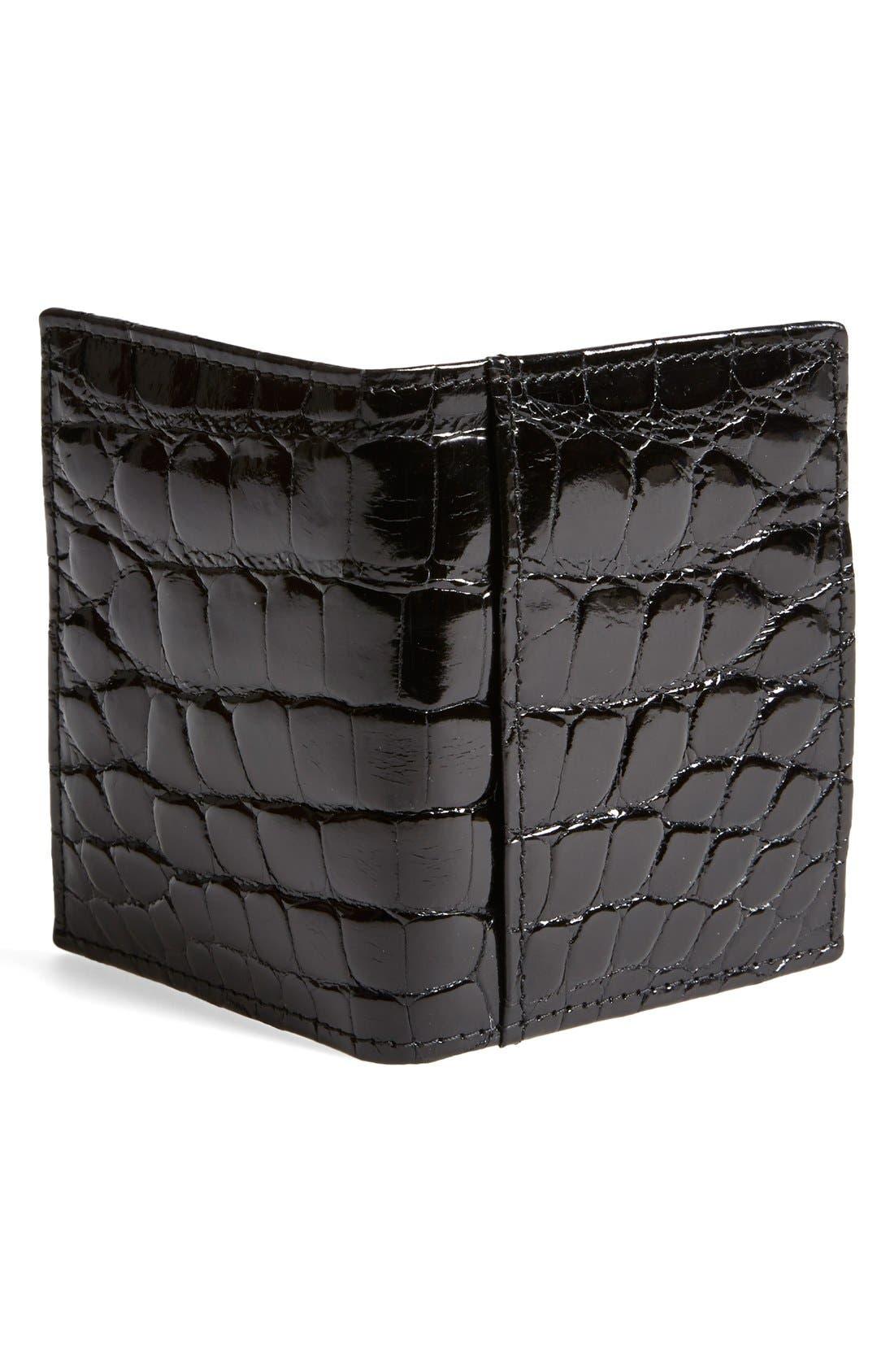 'Joseph' Genuine American Alligator Leather ID Wallet,                             Alternate thumbnail 3, color,                             001
