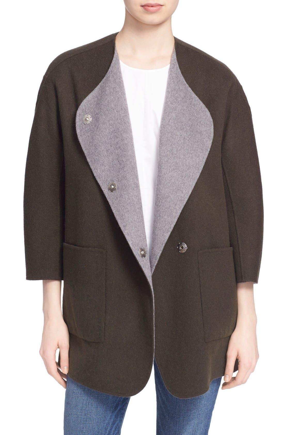 Reversible Wool & Angora Car Coat,                             Main thumbnail 1, color,                             020