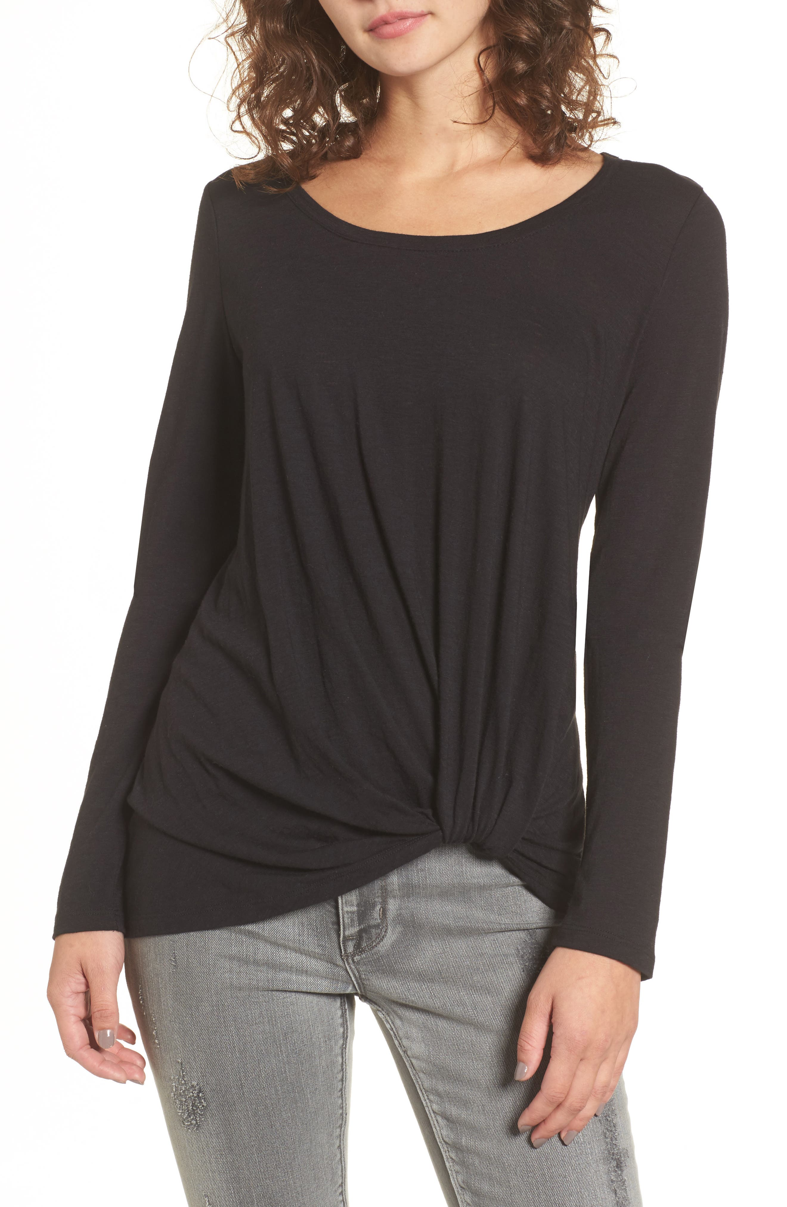 Twist Hem Tee,                             Main thumbnail 1, color,                             001