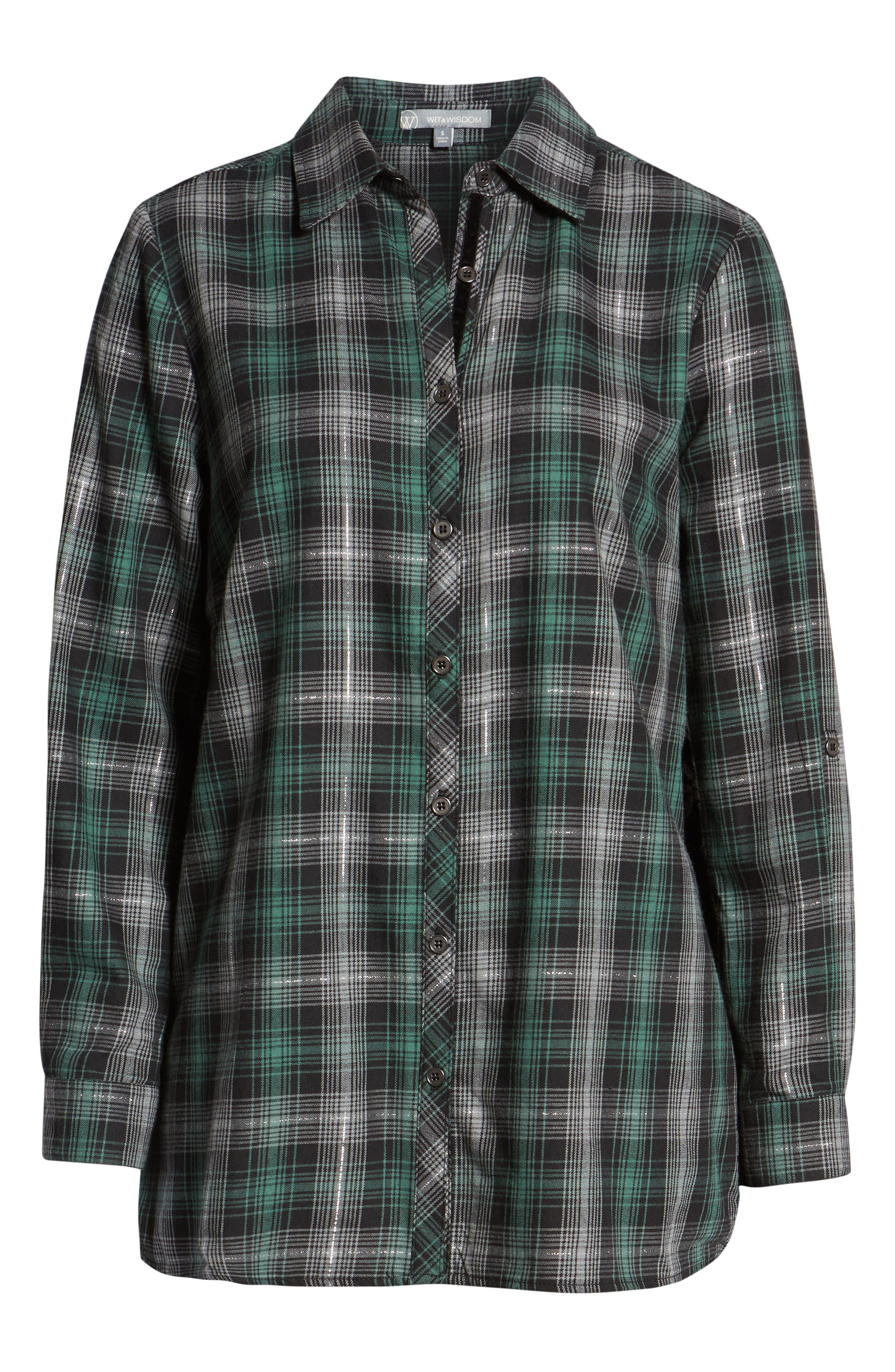Plaid & Embroidered Velvet Shirt,                             Alternate thumbnail 6, color,                             GREEN/ GREY