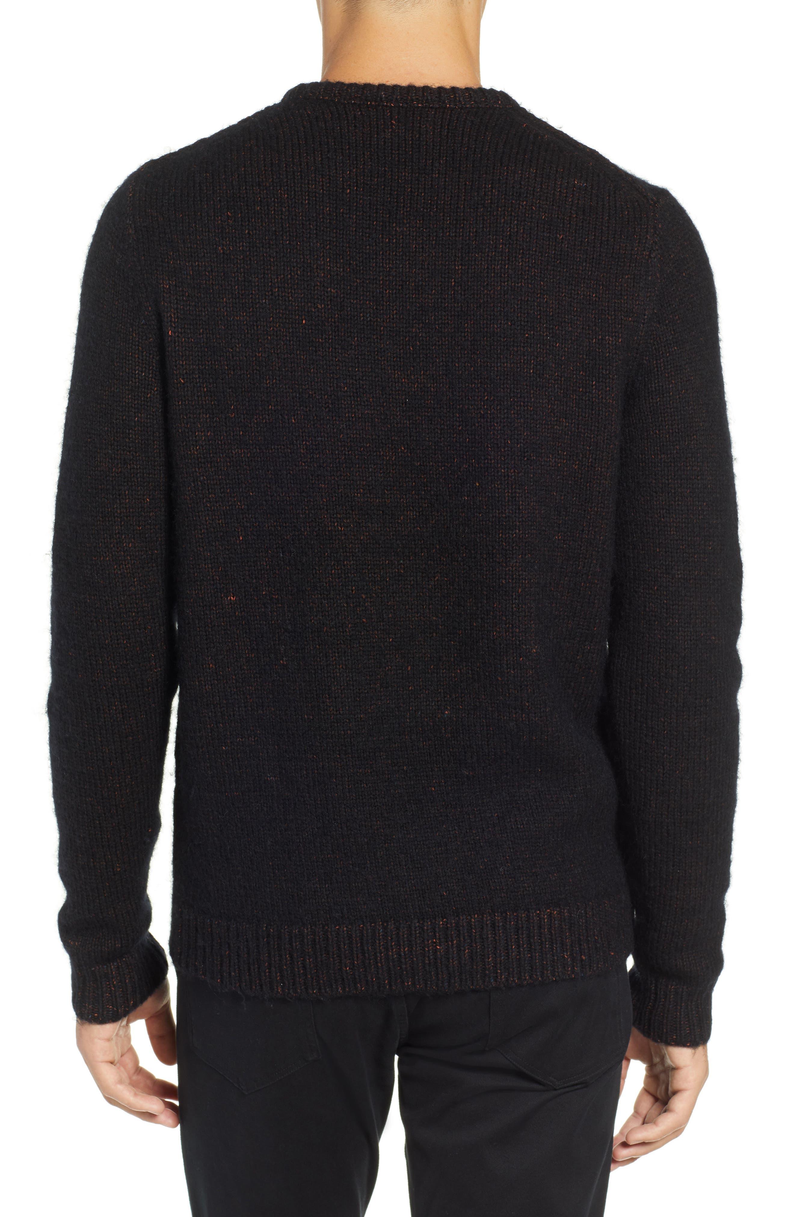 Chunky Crewneck Sweater,                             Alternate thumbnail 2, color,                             BLACK CAVIAR TWIST