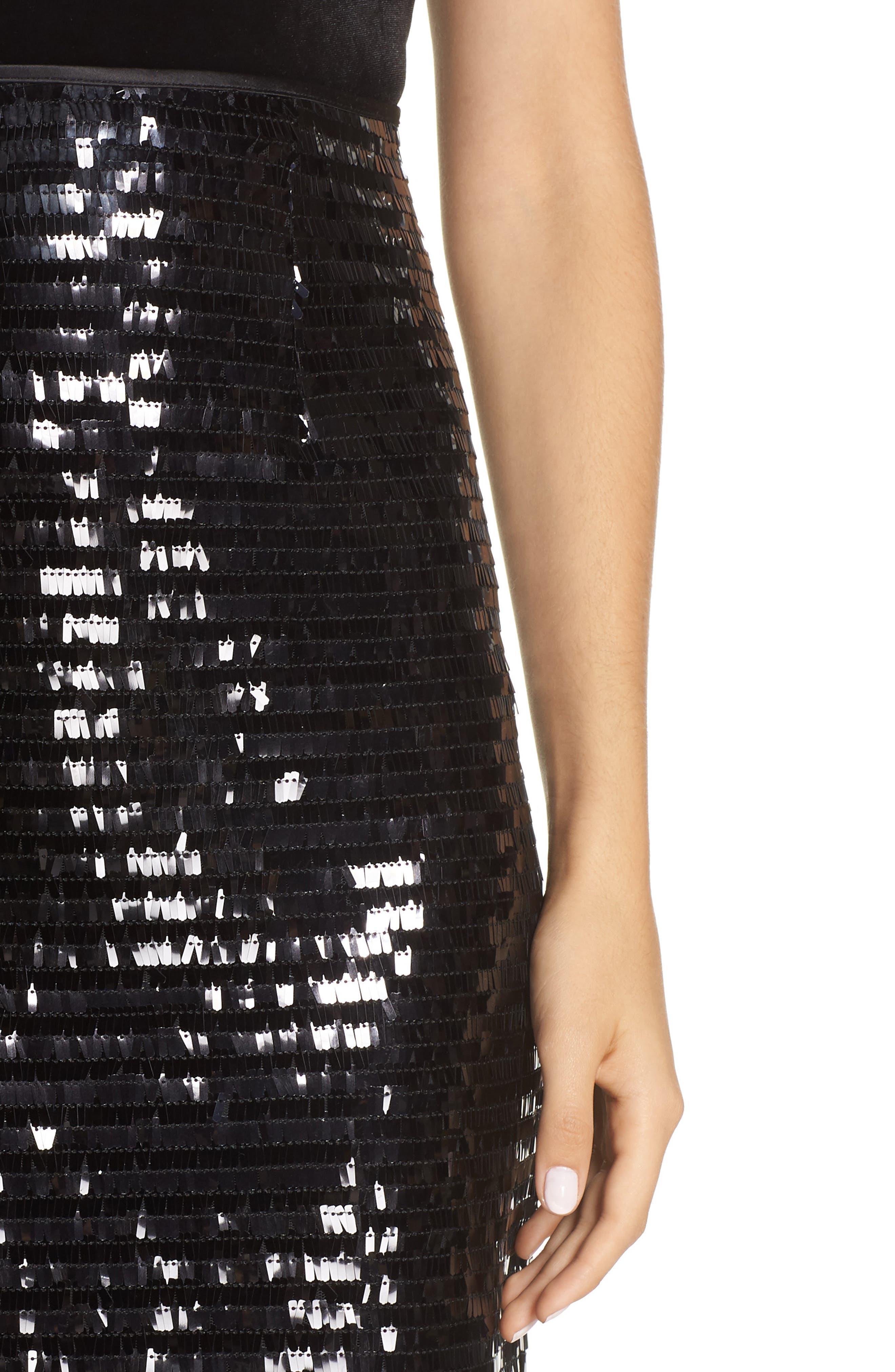 ELIZA J,                             Paillette Sequin Pencil Skirt,                             Alternate thumbnail 4, color,                             001