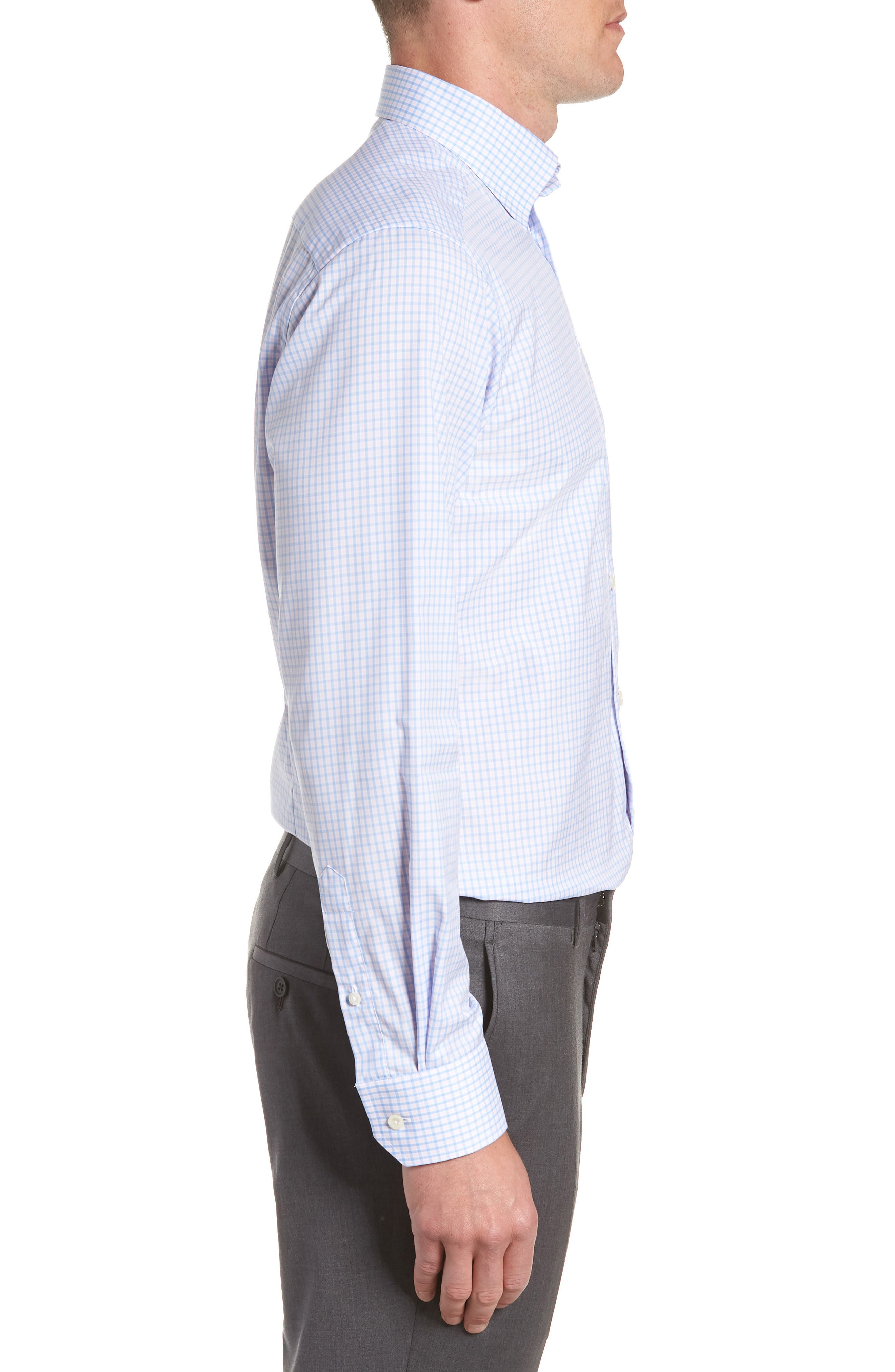 Contemporary Fit Check Dress Shirt,                             Alternate thumbnail 4, color,                             PINK
