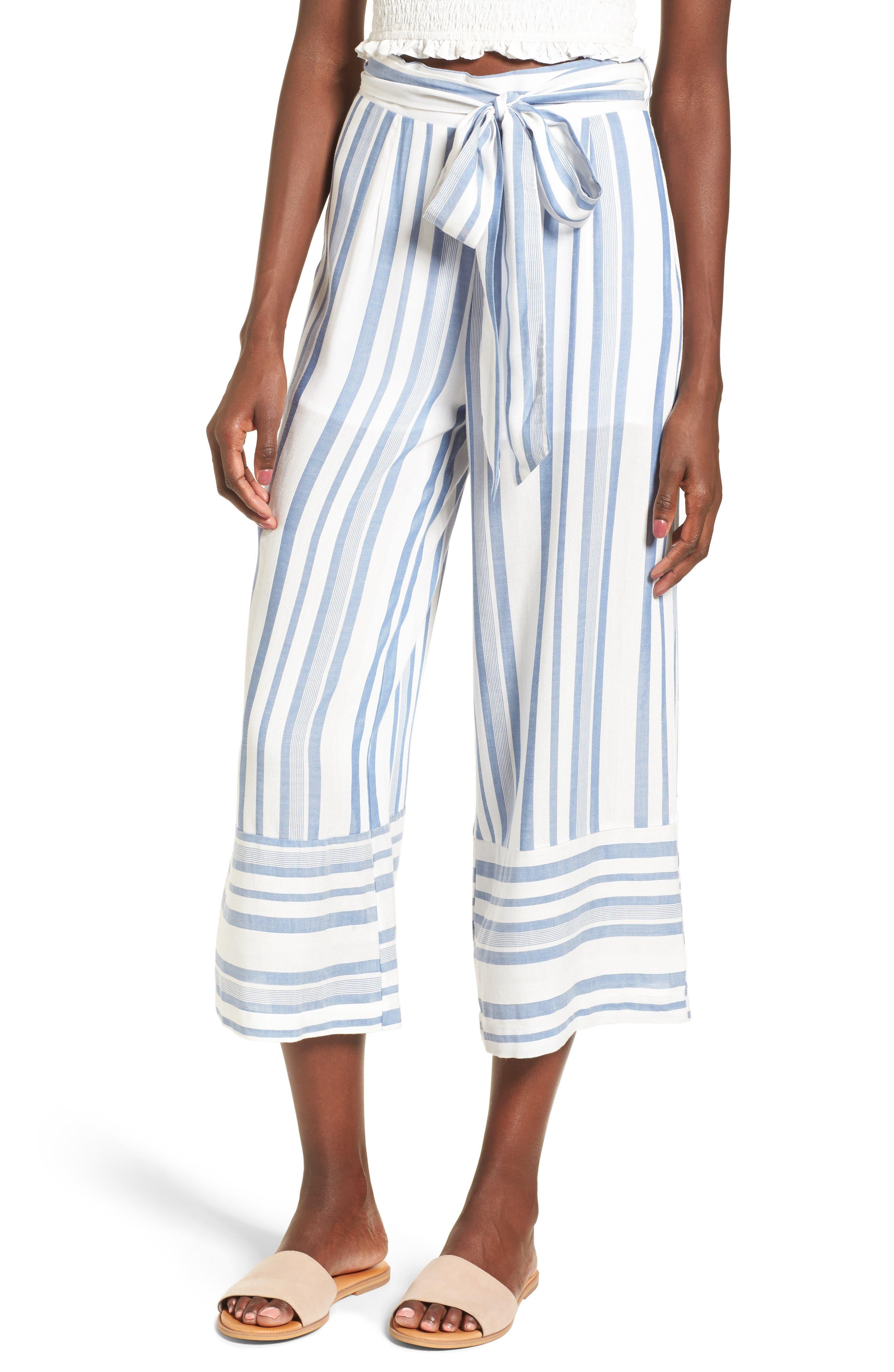 Marina Wide Leg Pants,                         Main,                         color, WHITE/ BLUE