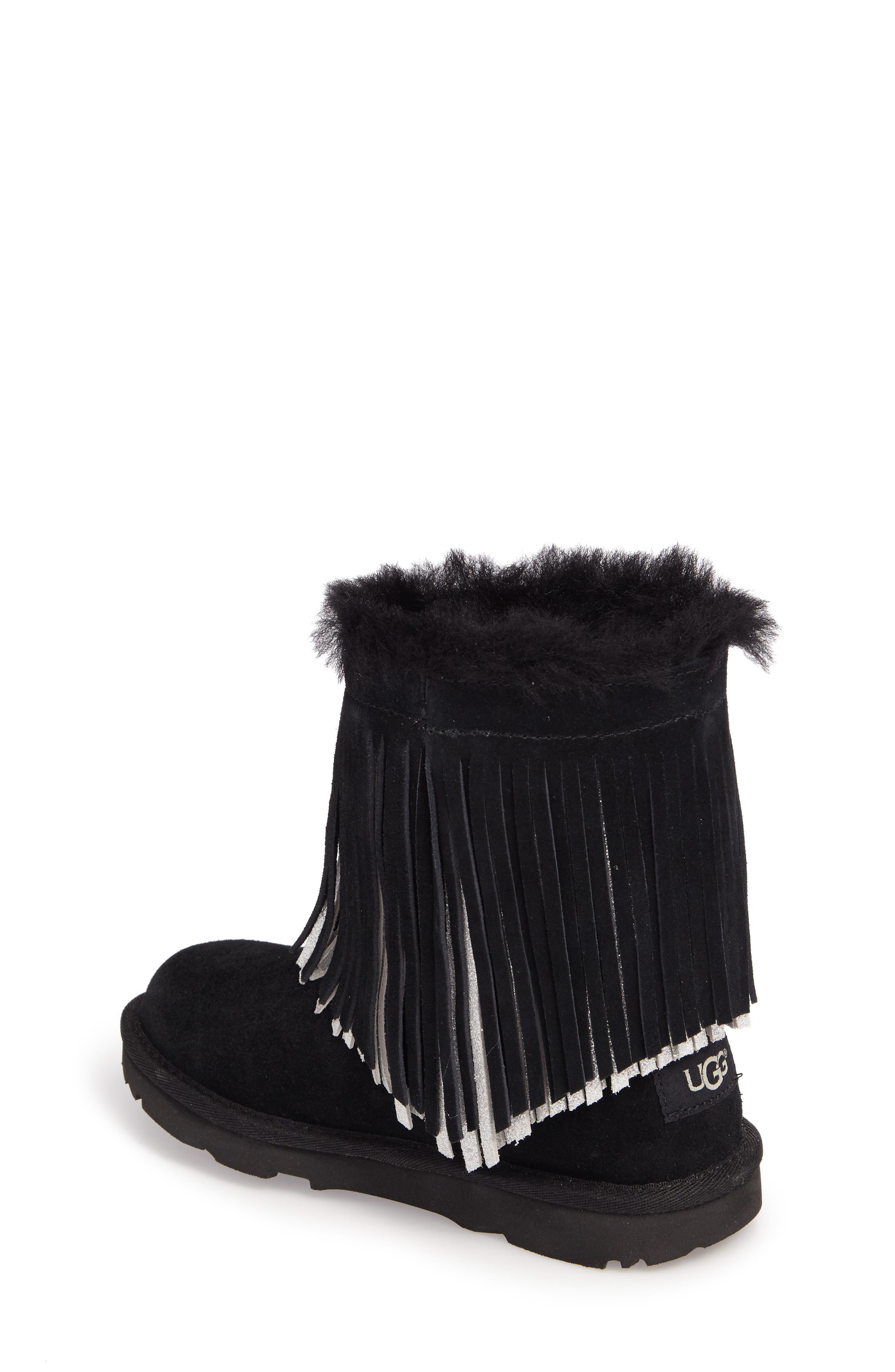 Classic II Short Fringe Water Resistant Genuine Shearling Boot,                             Alternate thumbnail 2, color,                             001