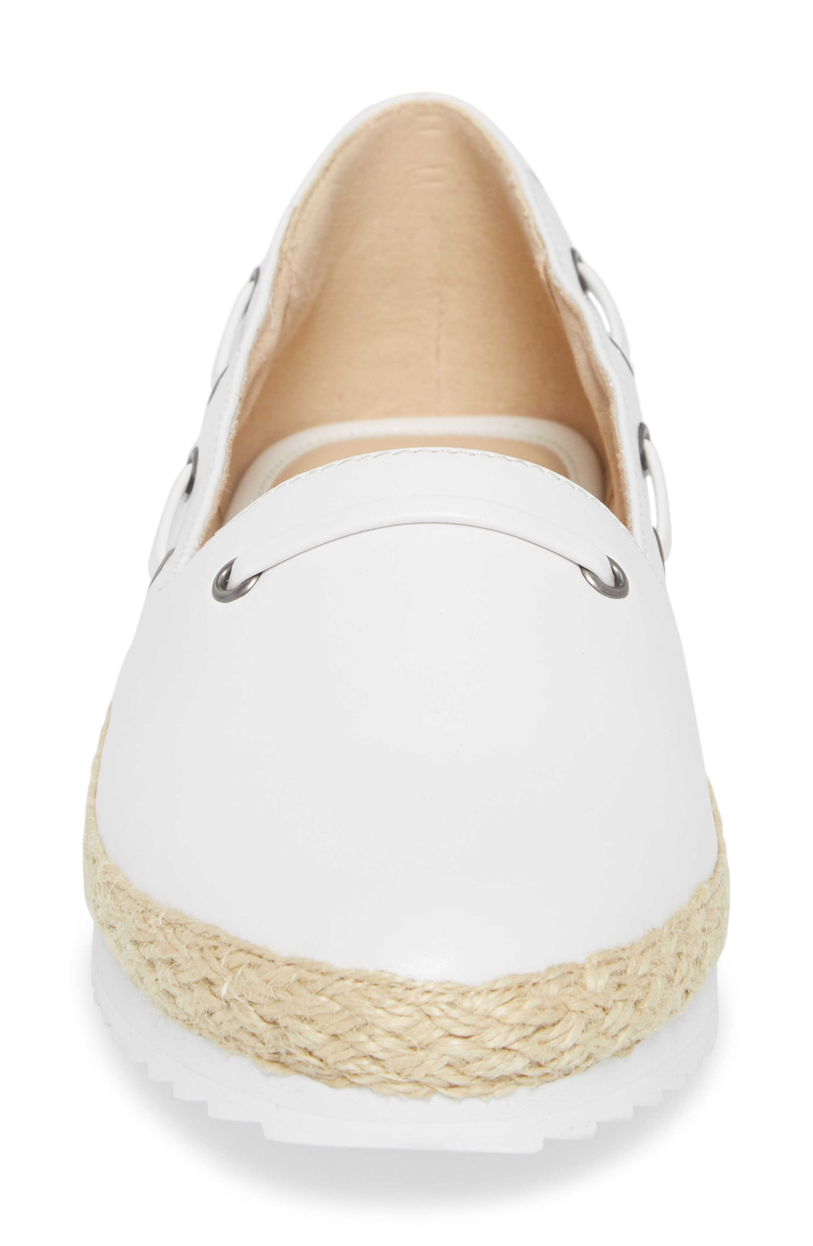 Highlighter Espadrille,                             Alternate thumbnail 4, color,                             WHITE FAUX LEATHER