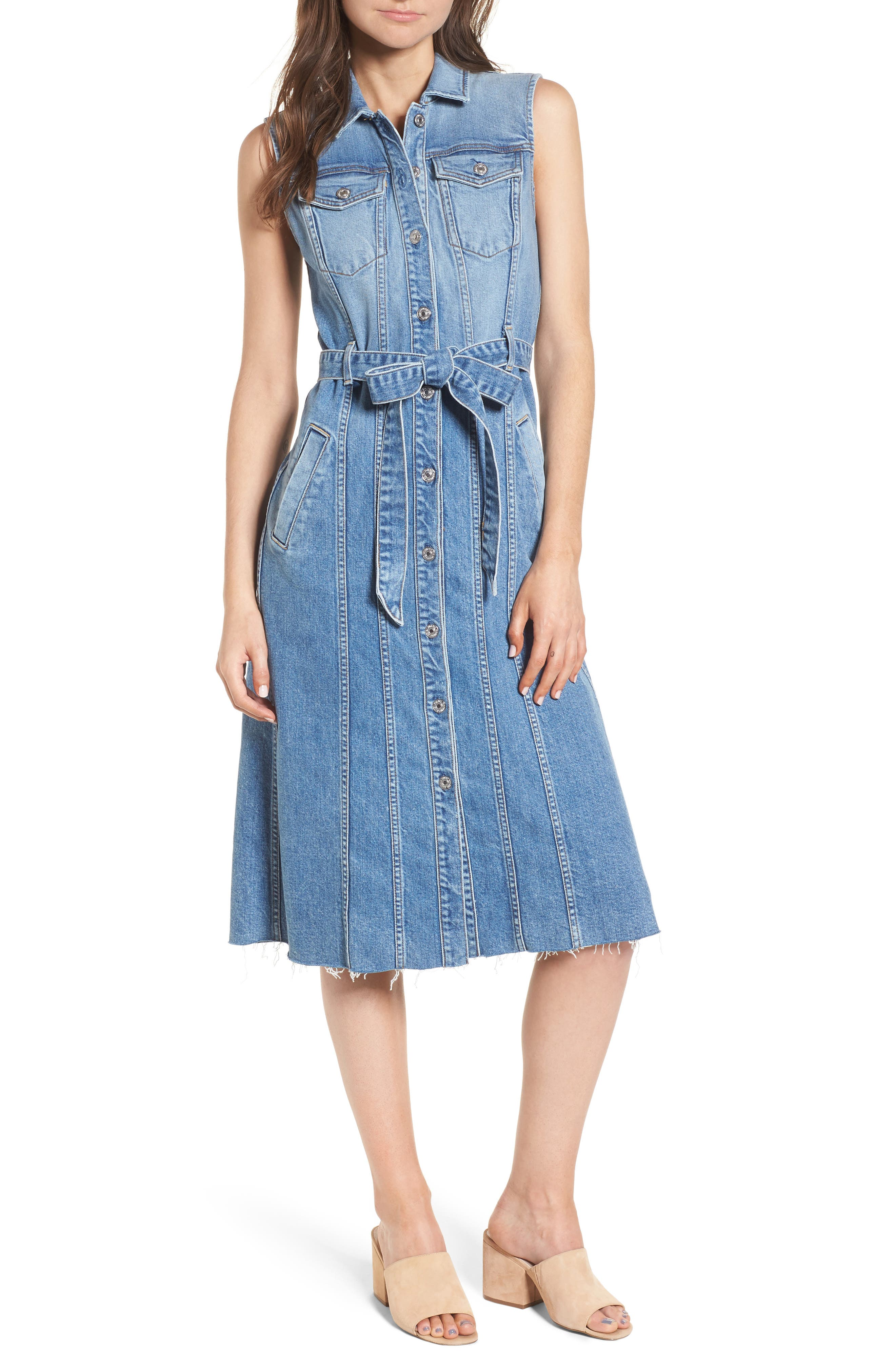 Trucker Denim Midi Dress,                             Main thumbnail 1, color,                             401