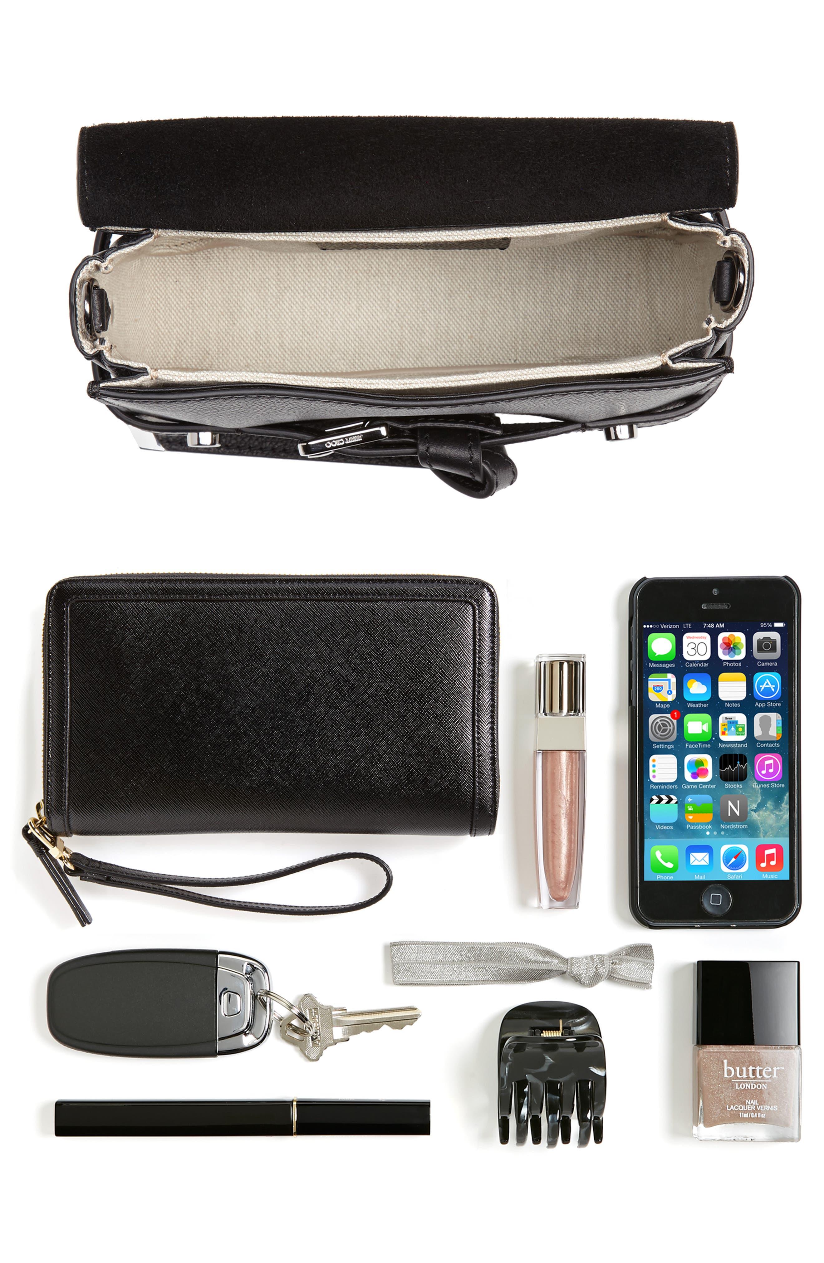 Lexi Grained Leather Crossbody Bag,                             Alternate thumbnail 7, color,                             BLACK