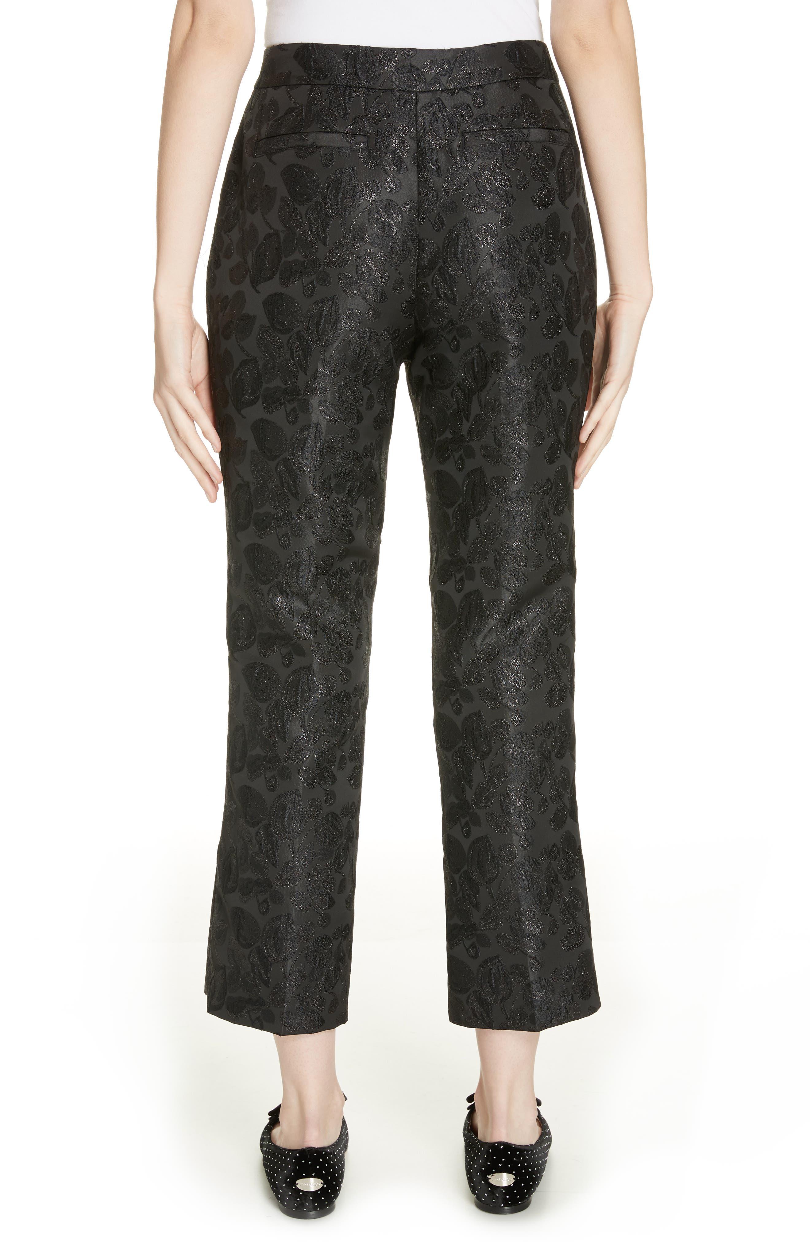 metallic tonal jacquard flare pants,                             Alternate thumbnail 2, color,                             BLACK