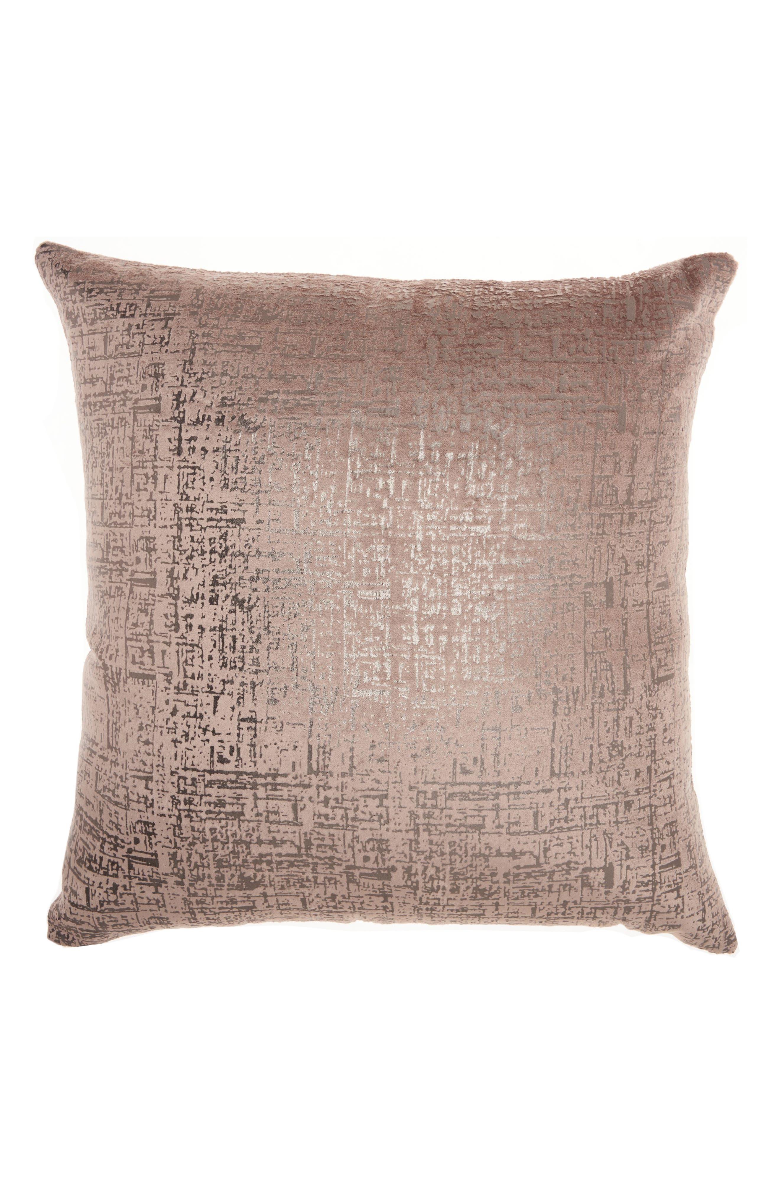 Distressed Velvet Accent Pillow,                             Main thumbnail 1, color,                             BEIGE