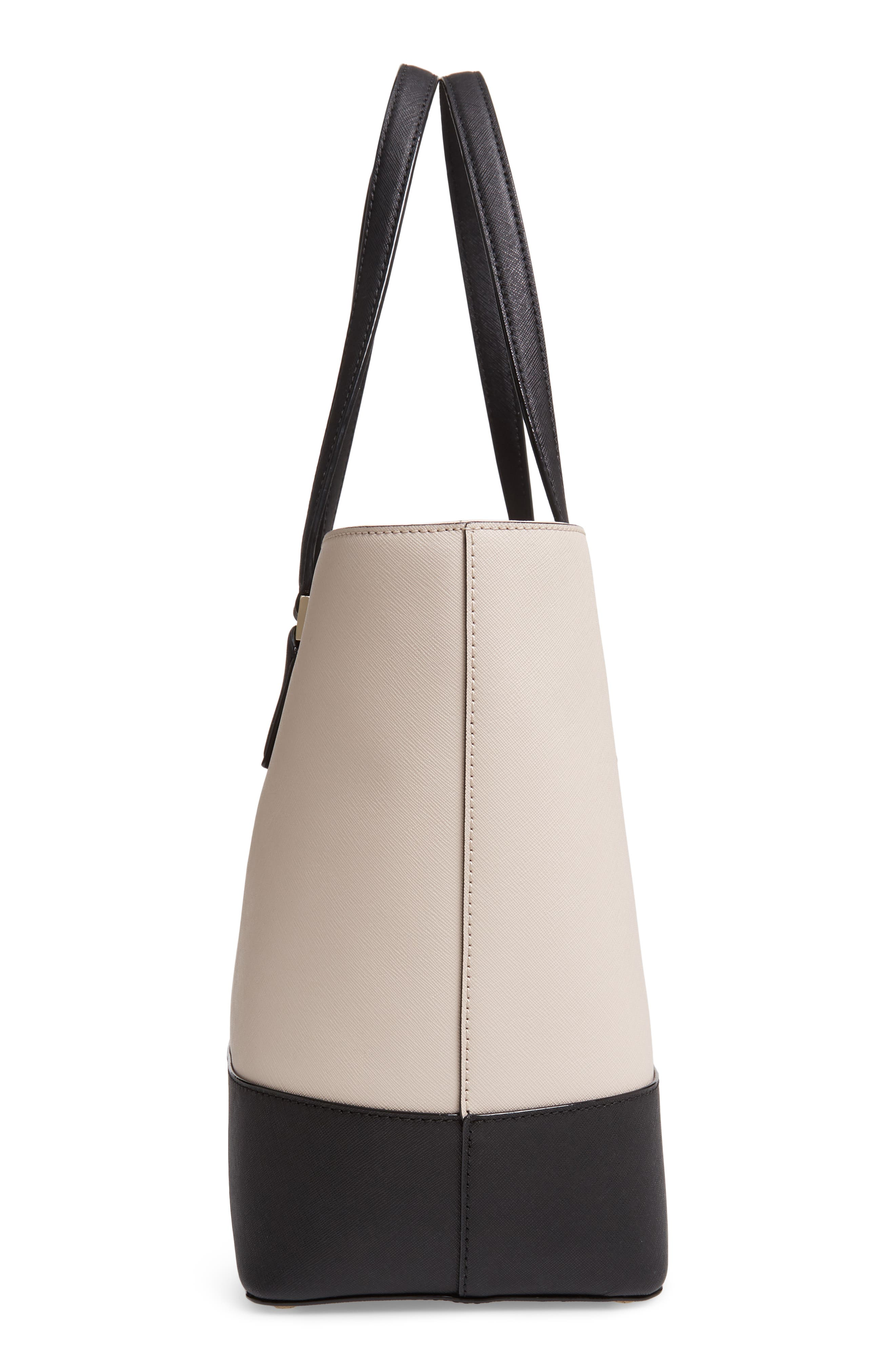 medium cameron street - harmony saffiano leather tote,                             Alternate thumbnail 5, color,                             TUSK/ BLACK
