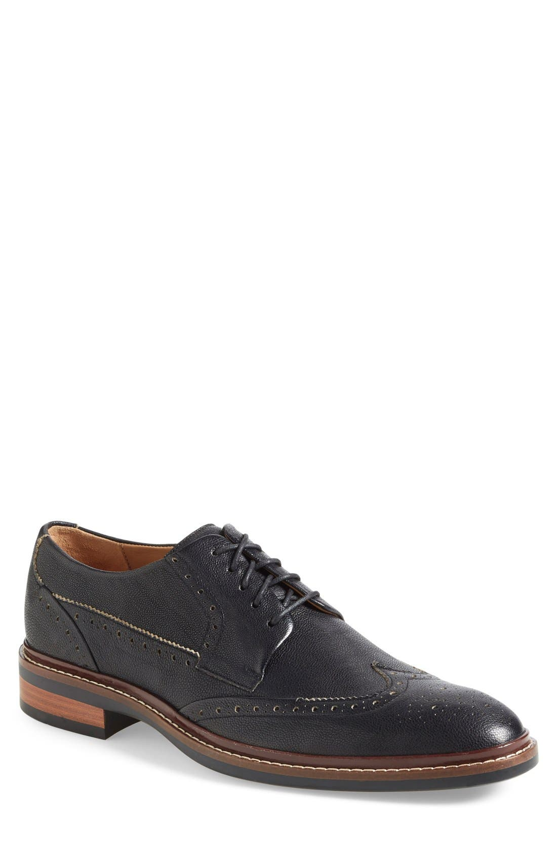 Warren Welt Wingtip,                             Main thumbnail 1, color,                             BLACK MILL LEATHER