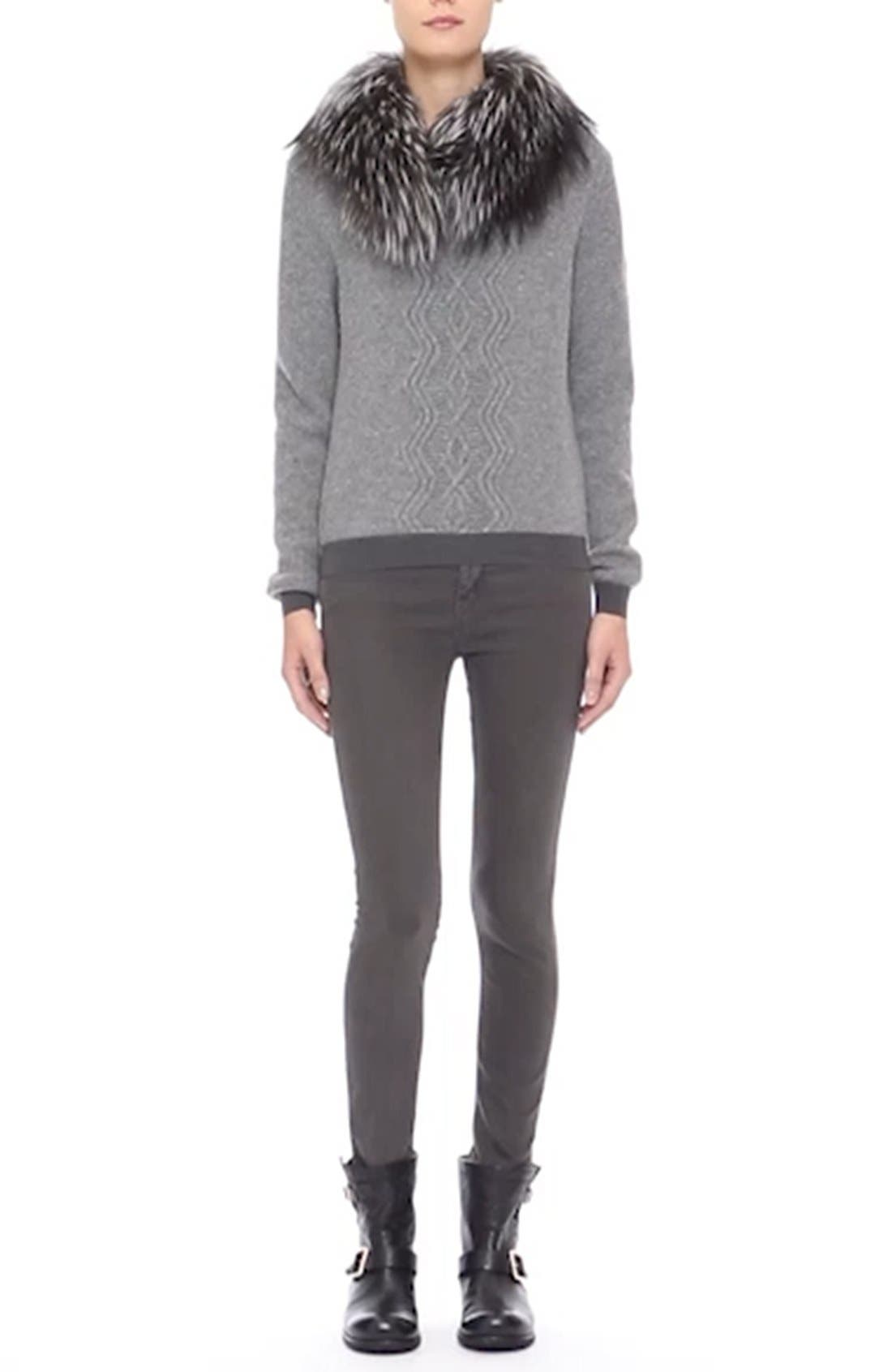 Wool & Cashmere Sweater with Removable Genuine Fox Fur Collar,                             Alternate thumbnail 2, color,                             031