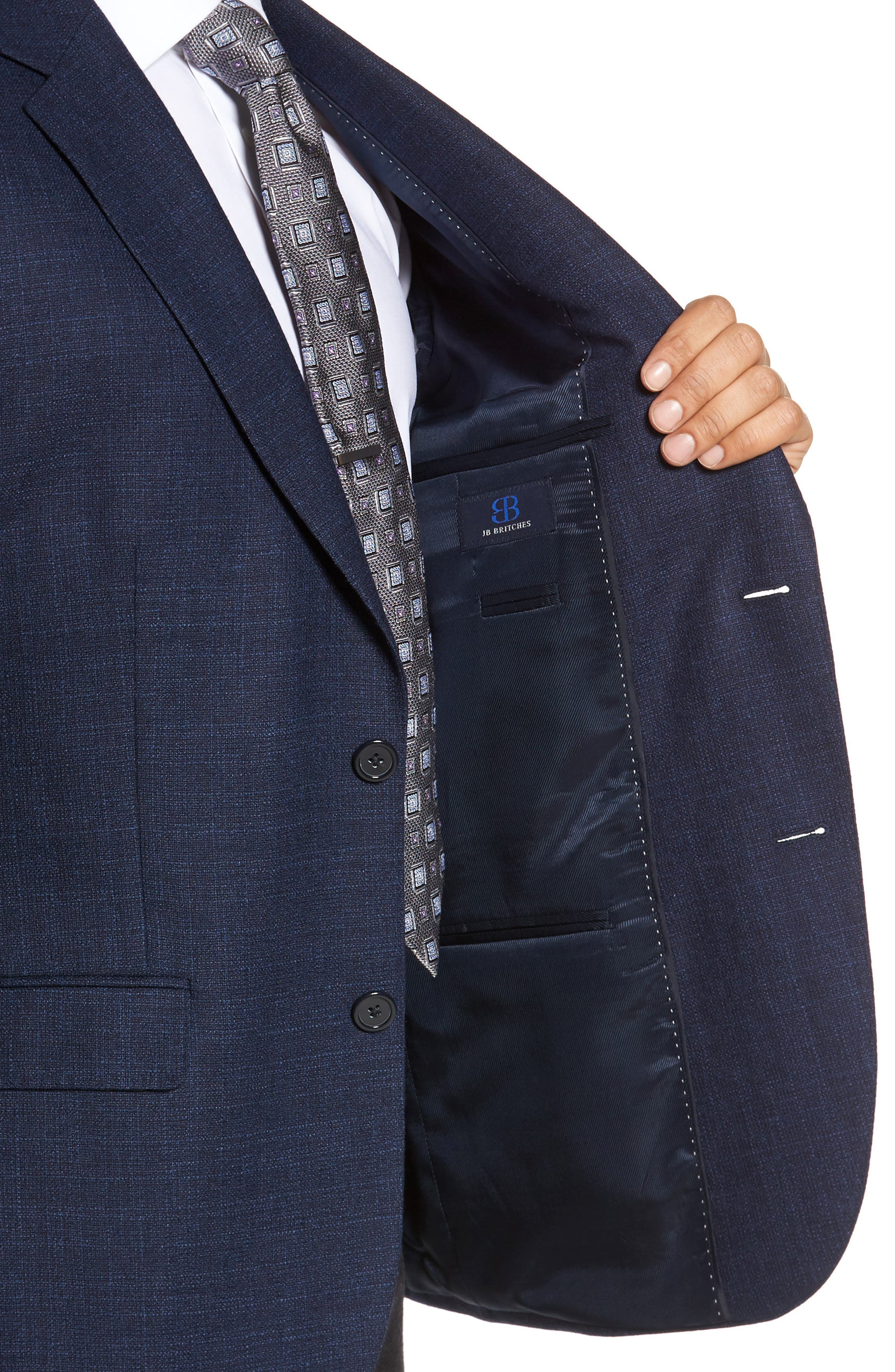 JB BRITCHES,                             Classic Fit Wool Blazer,                             Alternate thumbnail 4, color,                             422