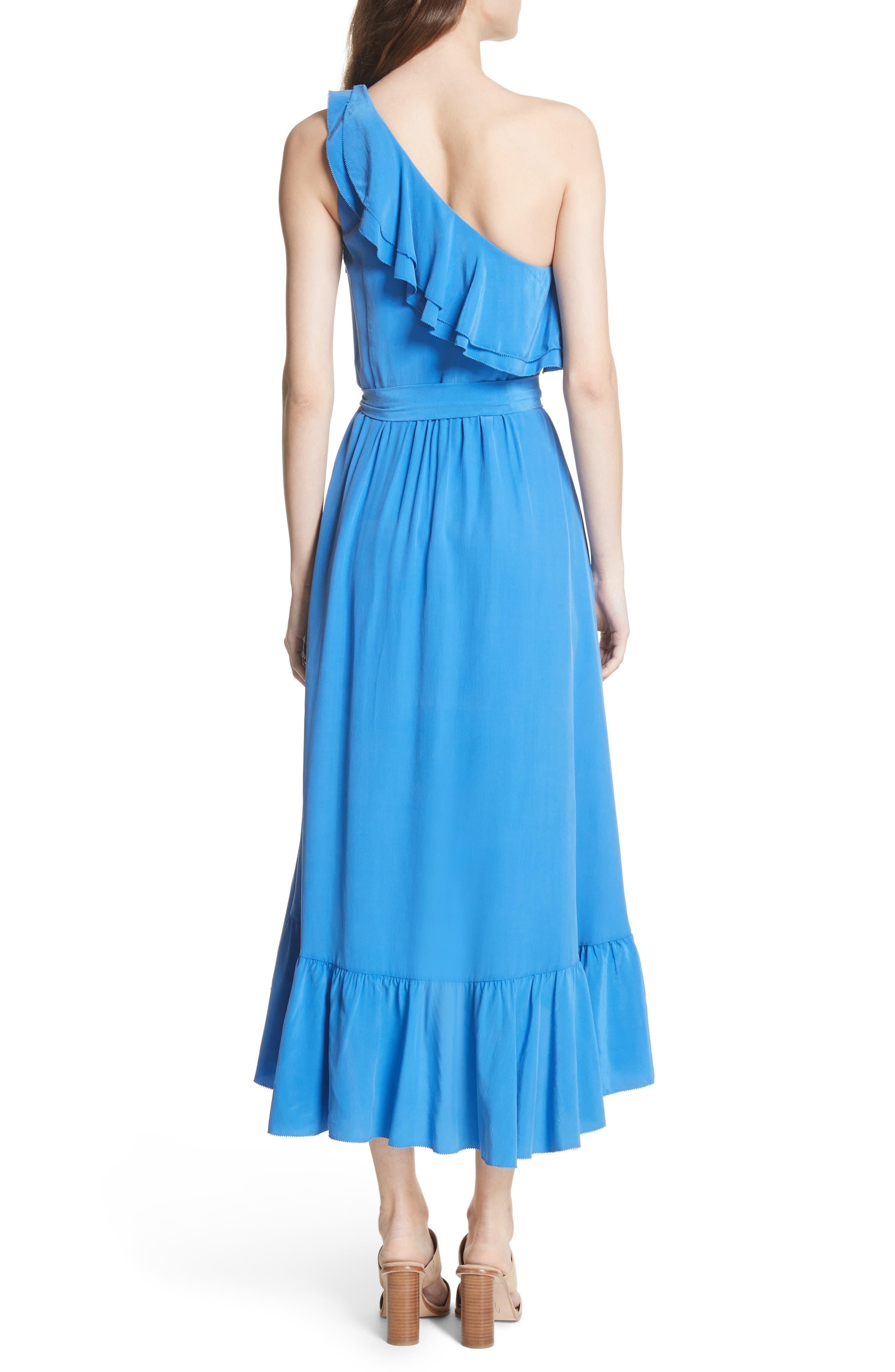 Damica Ruffle One-Shoulder Silk Dress,                             Alternate thumbnail 2, color,                             420