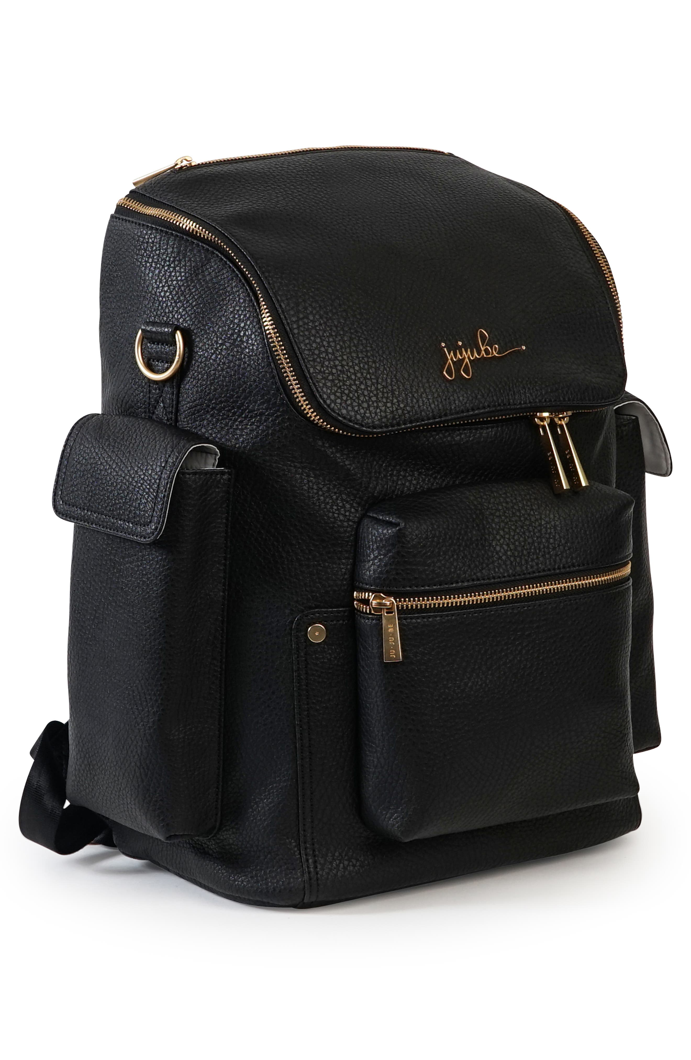 Ever Collection Forever Faux Leather Diaper Backpack,                             Alternate thumbnail 5, color,                             NOIR