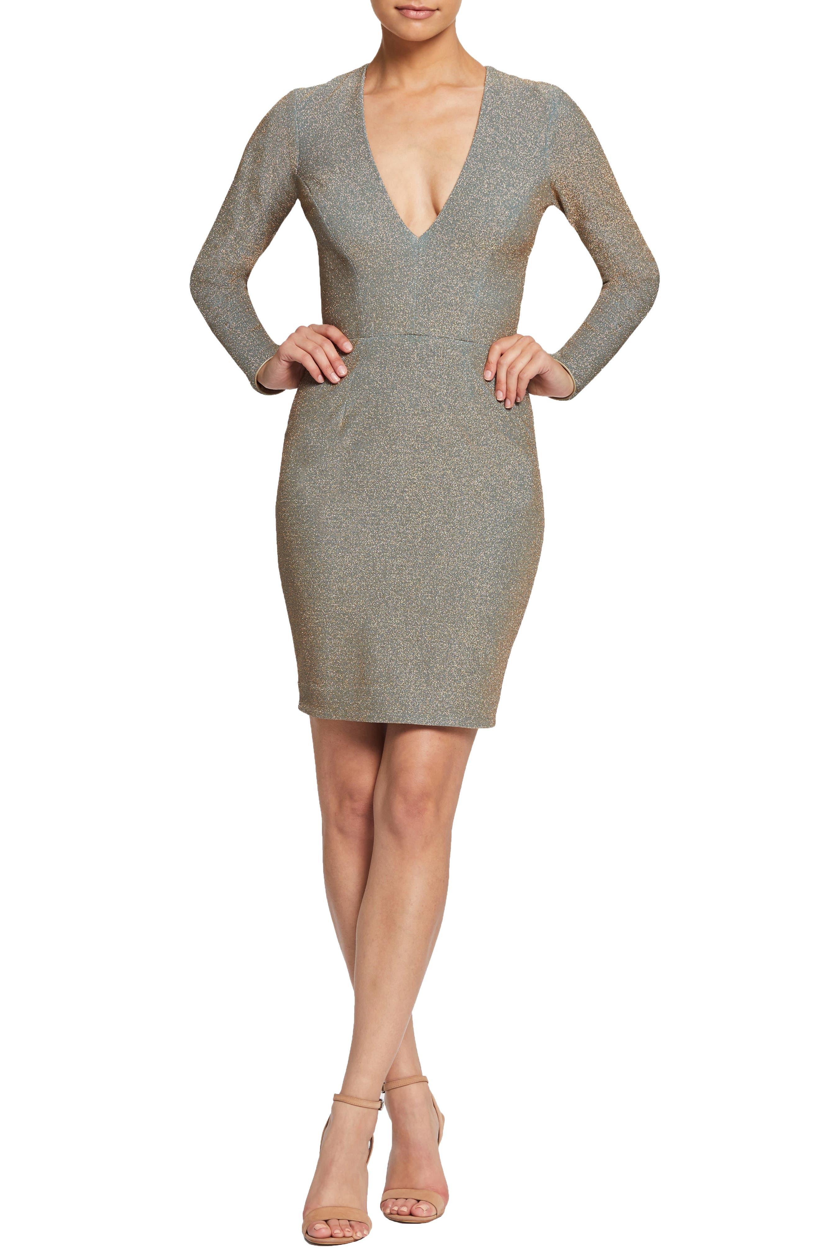 Dress The Population Riley Plunge Neck Metallic Sheath Dress, Metallic