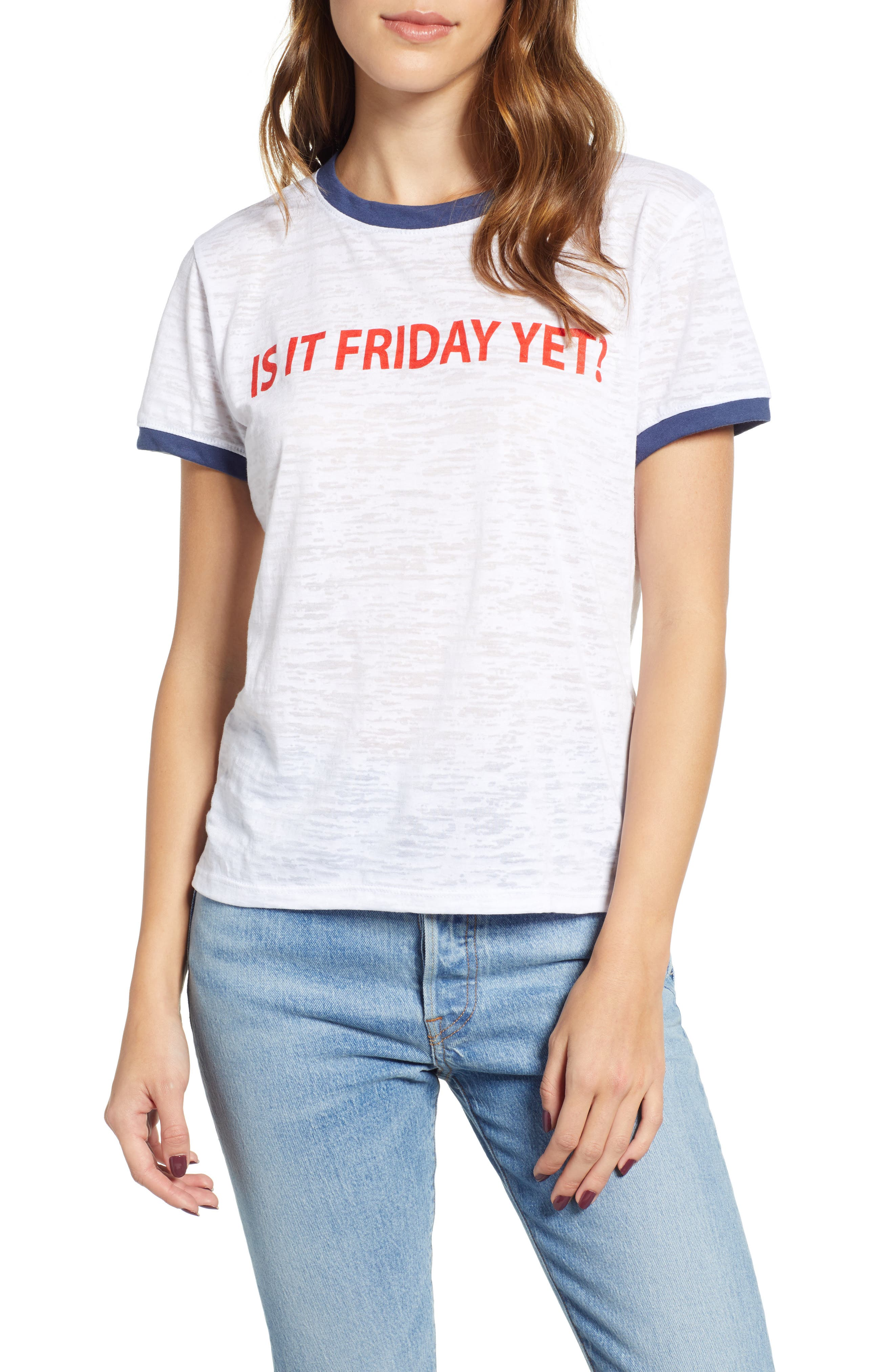 Is It Friday Yet Ringer Tee, Main, color, WHITE