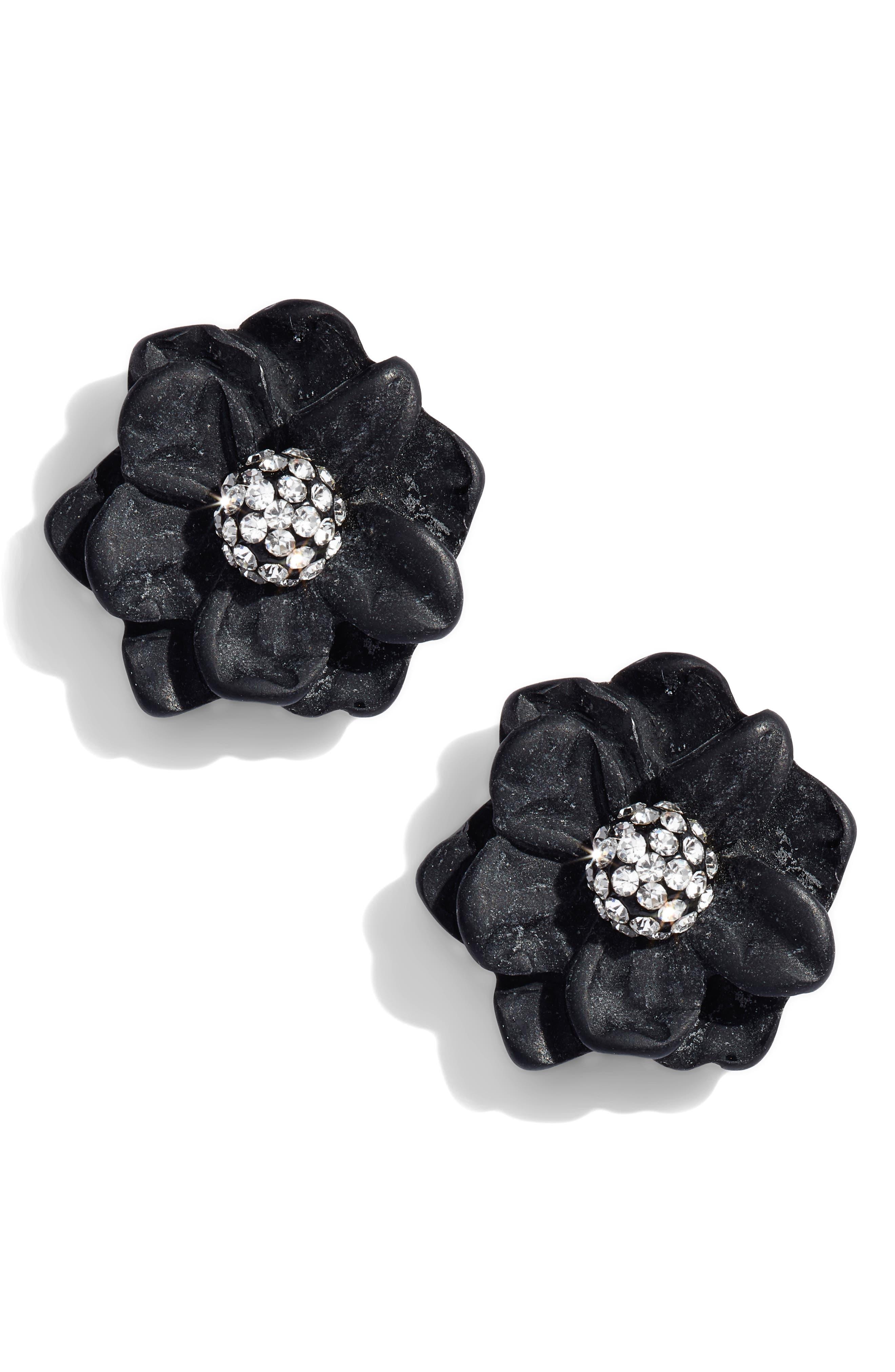 Gardenia Stud Earrings,                             Main thumbnail 1, color,                             JET