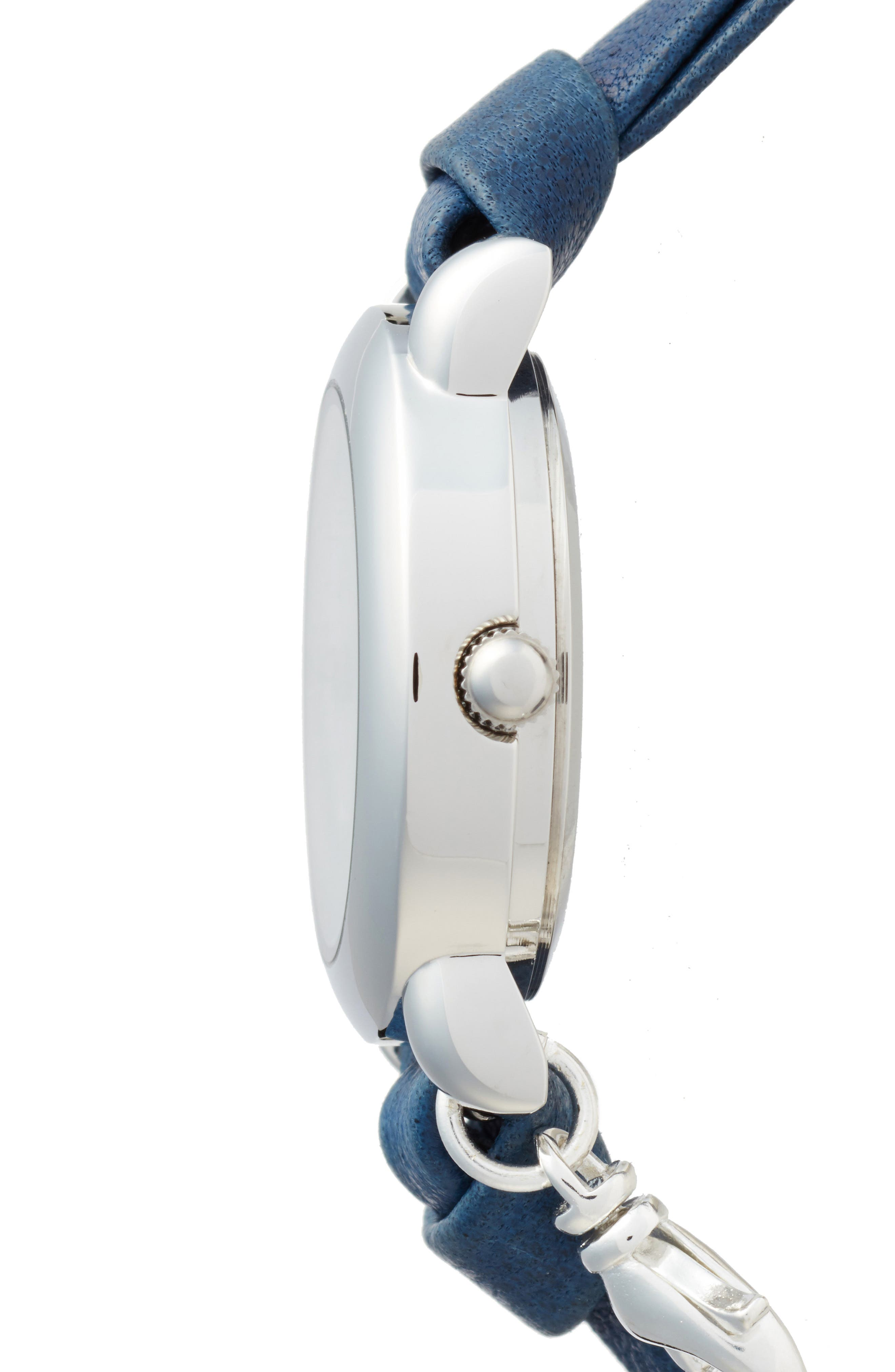 Stone & Leather Wrap Strap Watch, 22mm,                             Alternate thumbnail 3, color,                             NAVY/WHITE/SILVER