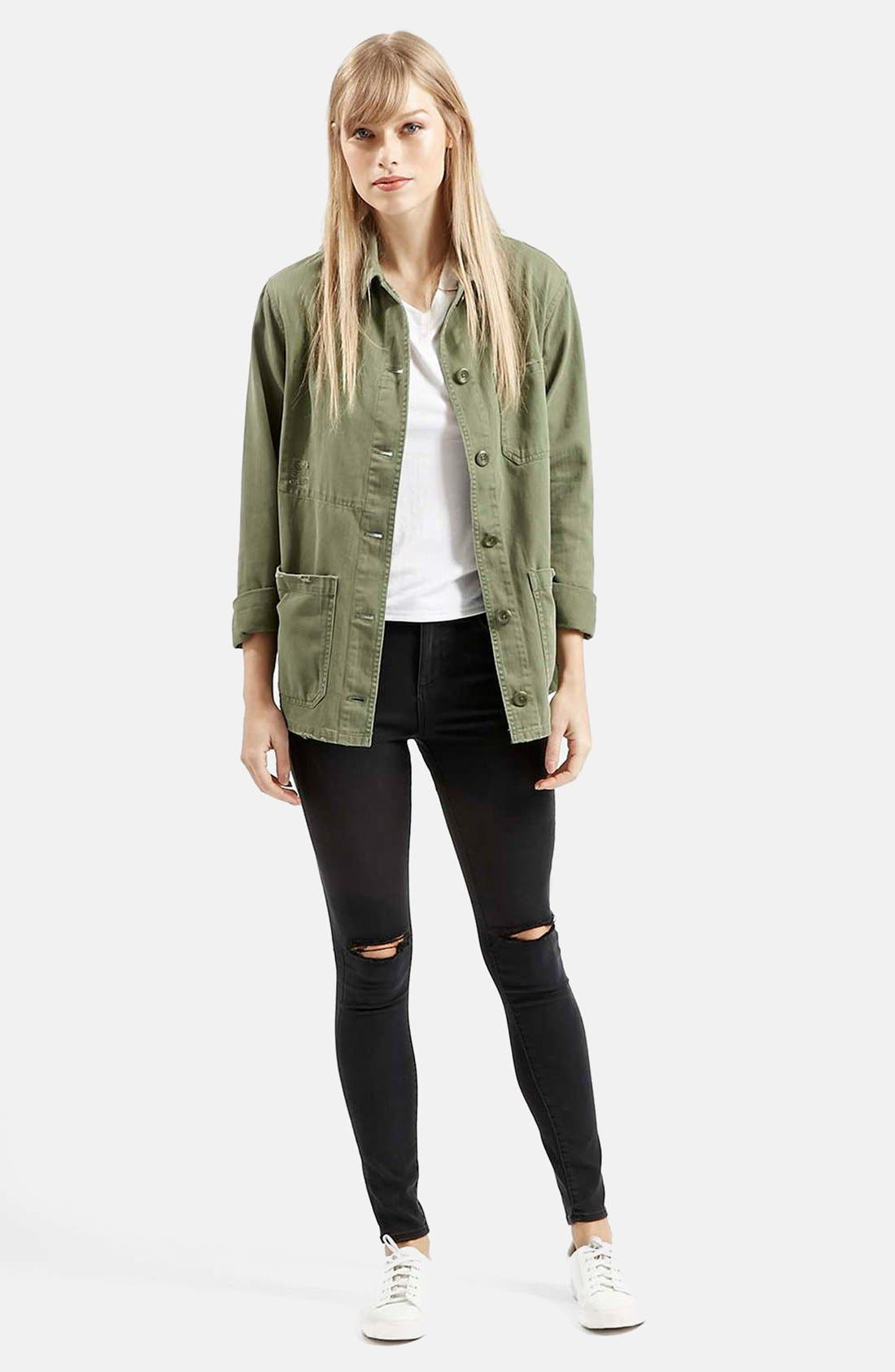 Moto 'Leigh' Ripped Skinny Jeans,                             Alternate thumbnail 4, color,                             001