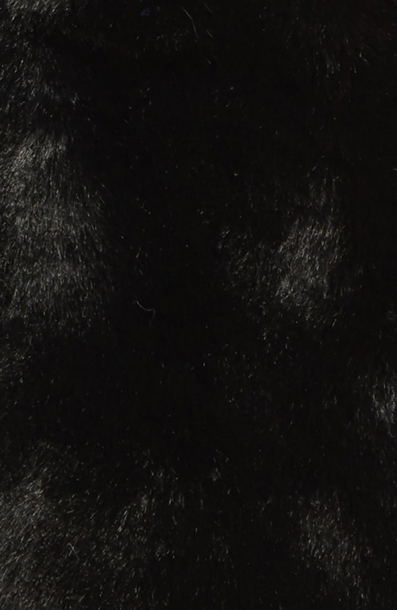 Faux Fur Mittens,                             Alternate thumbnail 2, color,                             BLACK